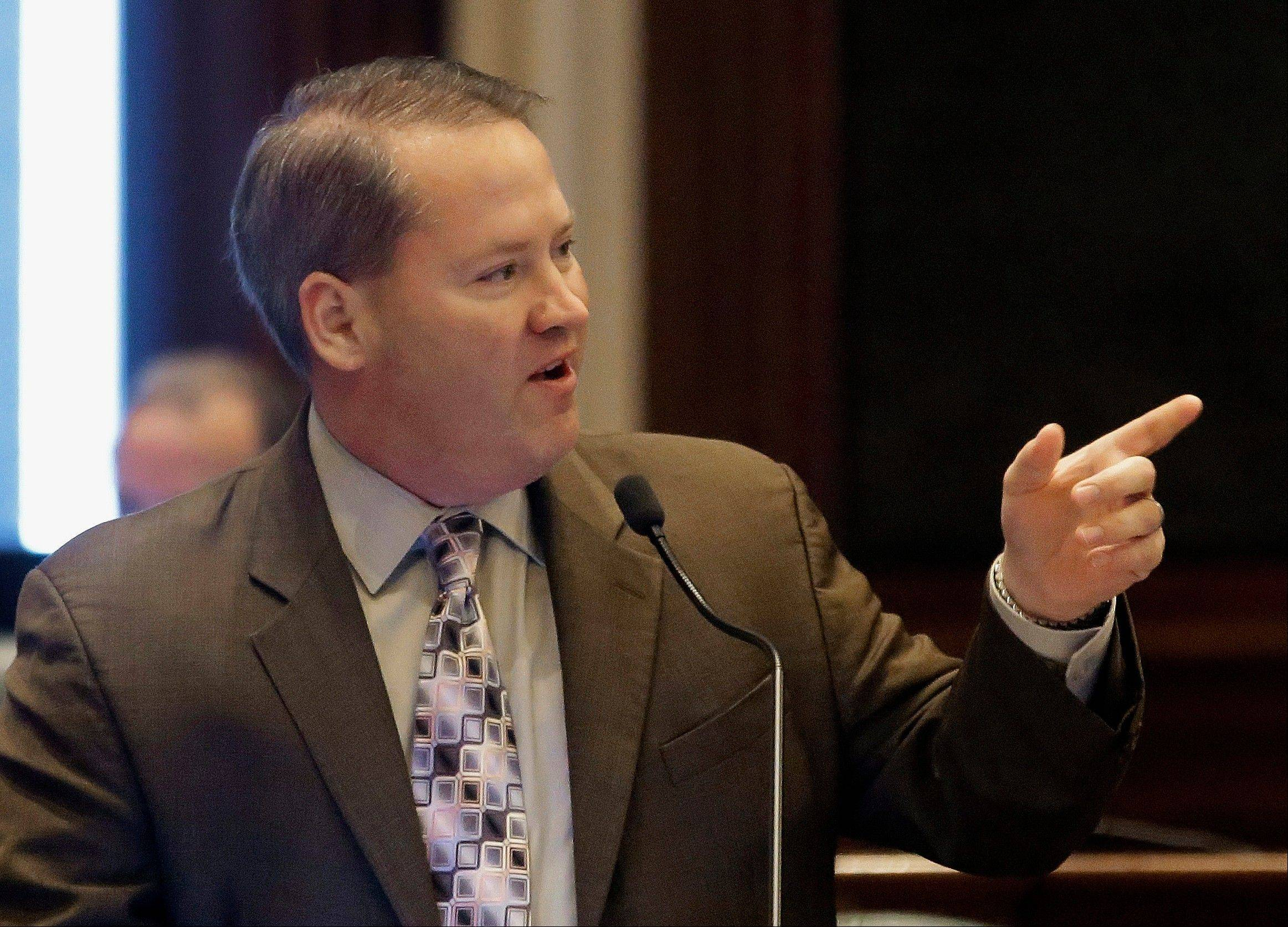 Illinois state Rep. Ed Sullivan, a Mundelein Republican whose support for same-sex marriage drew the ire of some conservatives, makes a point on the House floor during a session at the state Capitol last May.