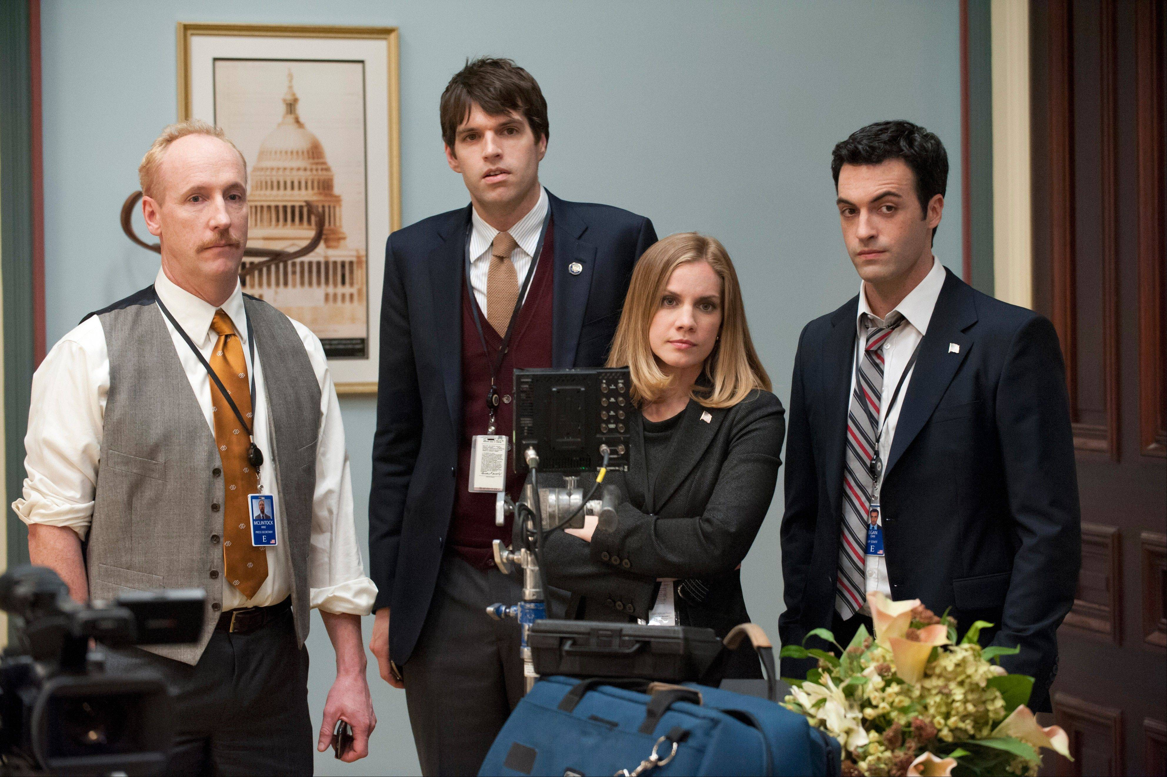"""Veep"" stars Matt Walsh, left, Timothy C. Simons, Anna Chlumsky and Reid Scott perform a scene from season two."