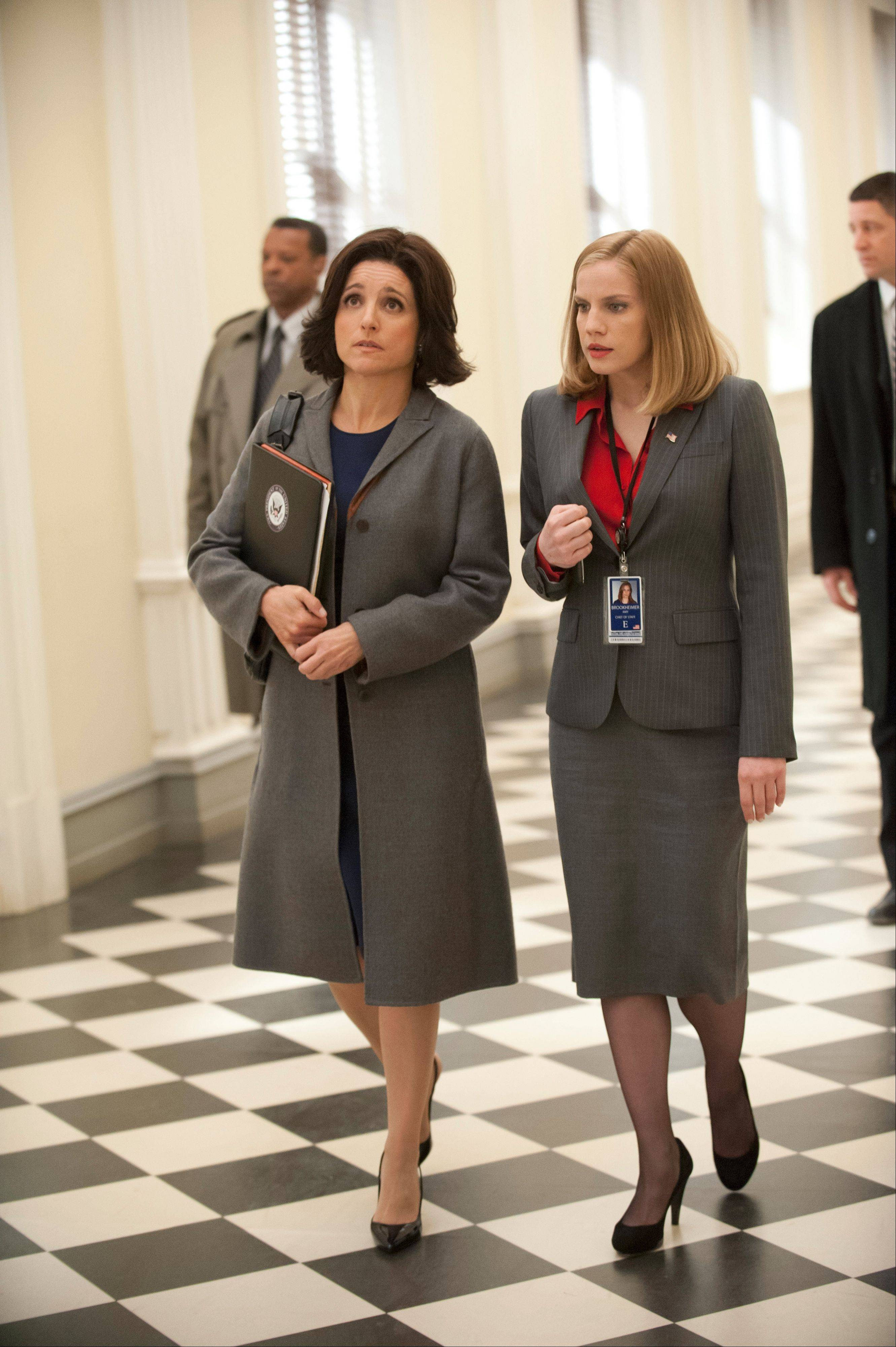 "Julia Louis-Dreyfus and Anna Chlumsky, of Broadview, act in a scene from season two of the HBO series, ""Veep."""
