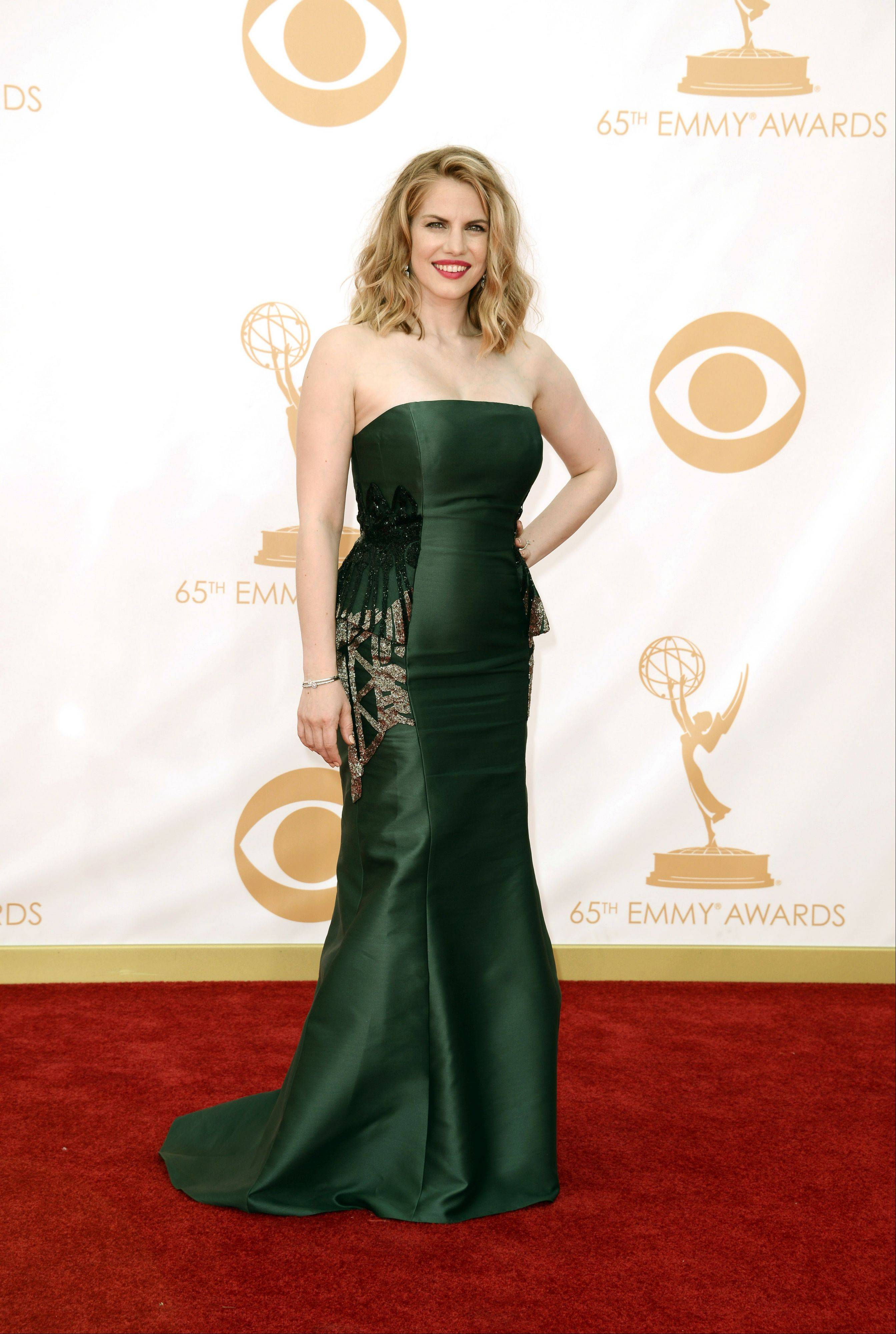 Anna Chlumsky, wearing Badgley Mischka, arrives at the 65th Primetime Emmy Awards at Nokia Theatre Sept. 22. The Broadview native was nominated for Outstanding Supporting Actress in a Comedy Series.