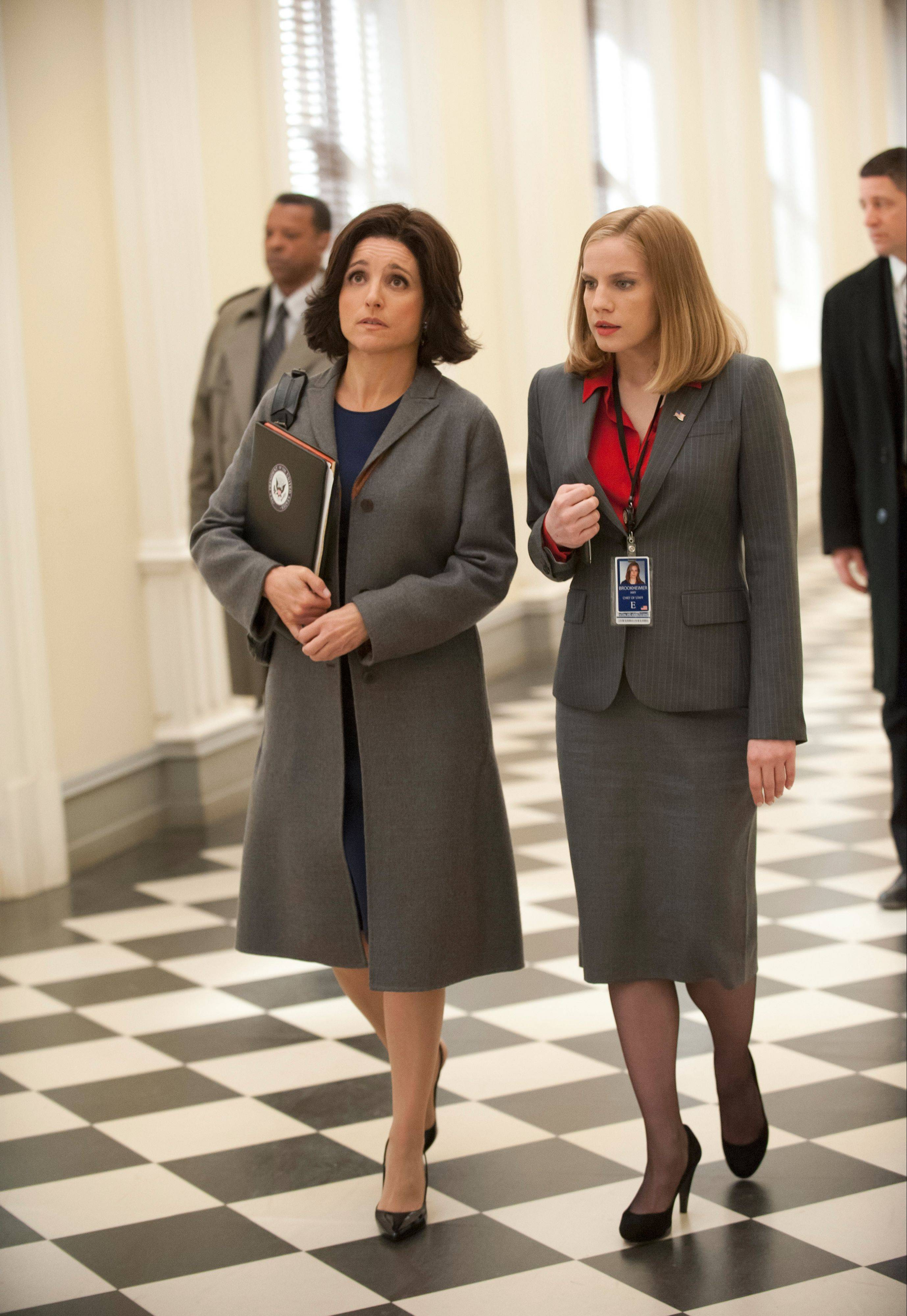 "Julia Louis-Dreyfus and Anna Chlumsky, of Broadview, act in a scene from season two of the HBO series ""Veep."""