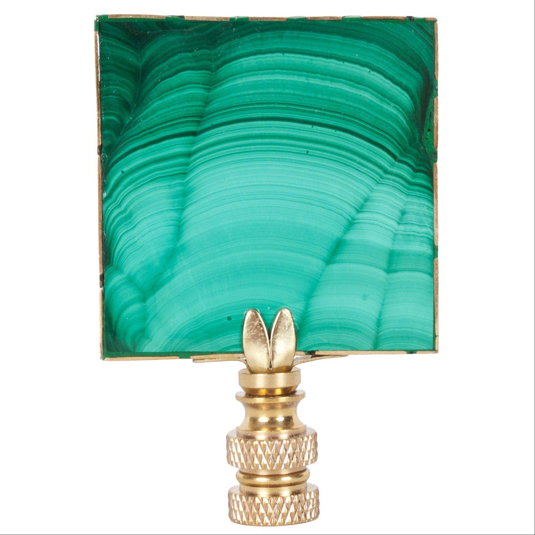 Hillary Thomas' Billy finial is crafted from a sliver of vibrant green and black malachite, adding a distinctive touch to a lamp. It brings one of fall's hot trends toward nature and natural elements into play.