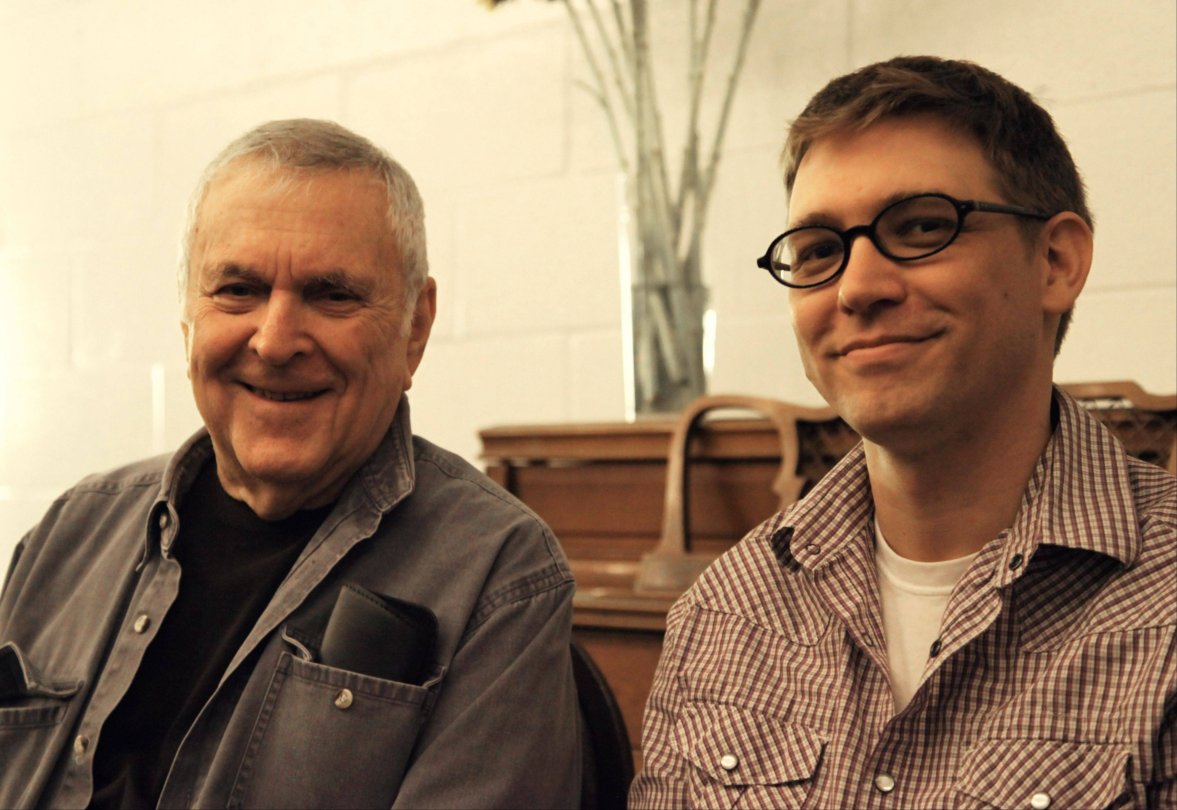 "Composer John Kander, left, and lyricist Greg Pierce, at the Vineyard Theatre in New York, have collaborated on three new musicals, including ""The Landing,"" which opens Wednesday, Oct. 23."