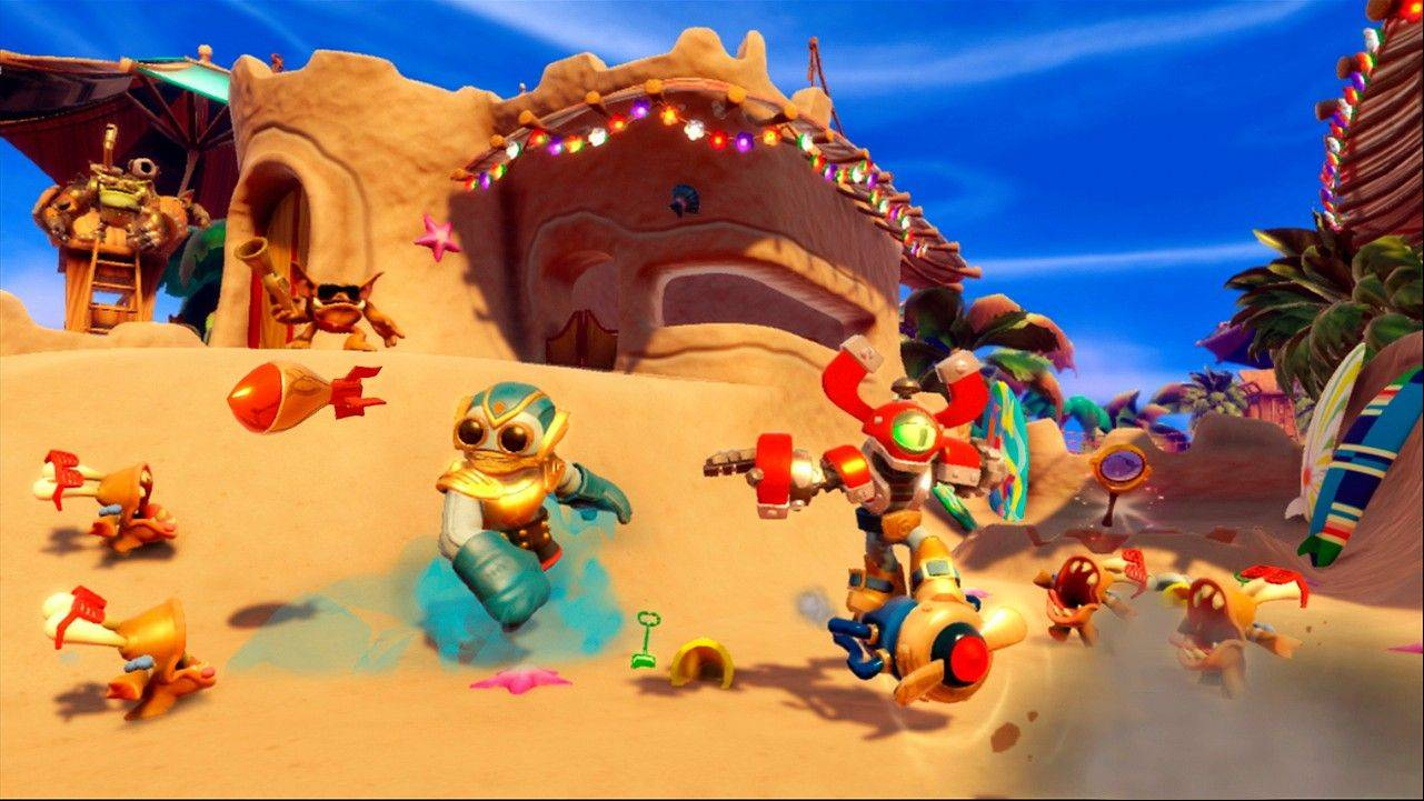 "Two robots, Boom Jet and Magna Charge, can switch body parts in ""Skylanders Swap Force."""