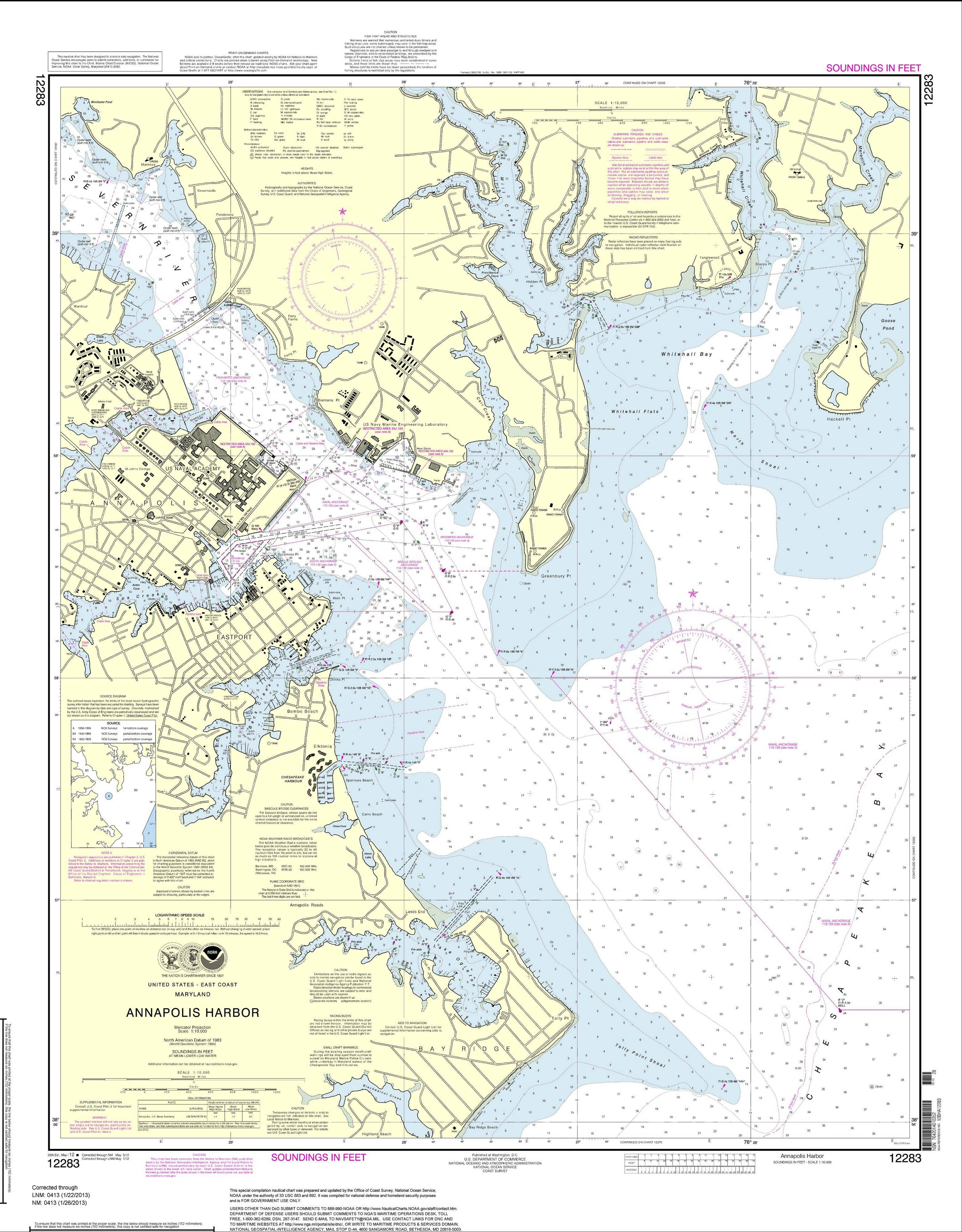 This is a print-on-demand nautical chart for Annapolis Harbor. The National Oceanic and Atmospheric Administration said Tuesday the traditional heavy paper lithographic nautical charts will stop being printed next April.