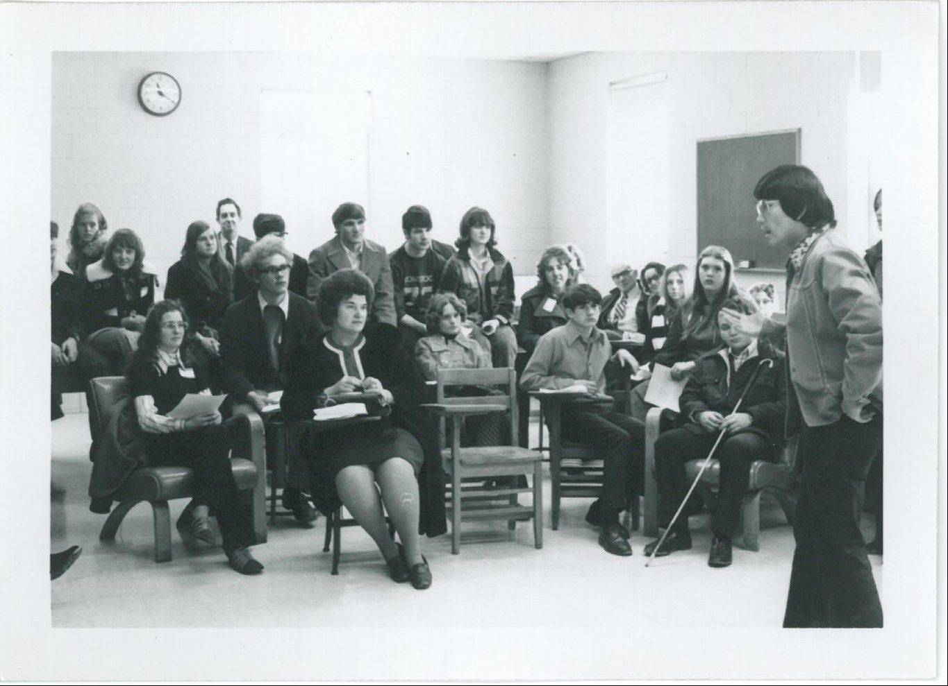A 1973 psychology class at Judson College is taught by Ted Hsieh, who retired last year after more than 40 years of teaching at the university, which marks its 50th year this year.