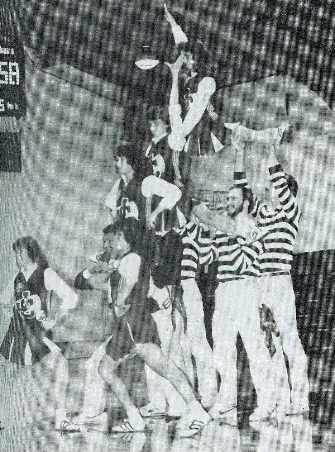 A Judson College cheerleading squad from the early 1980s.