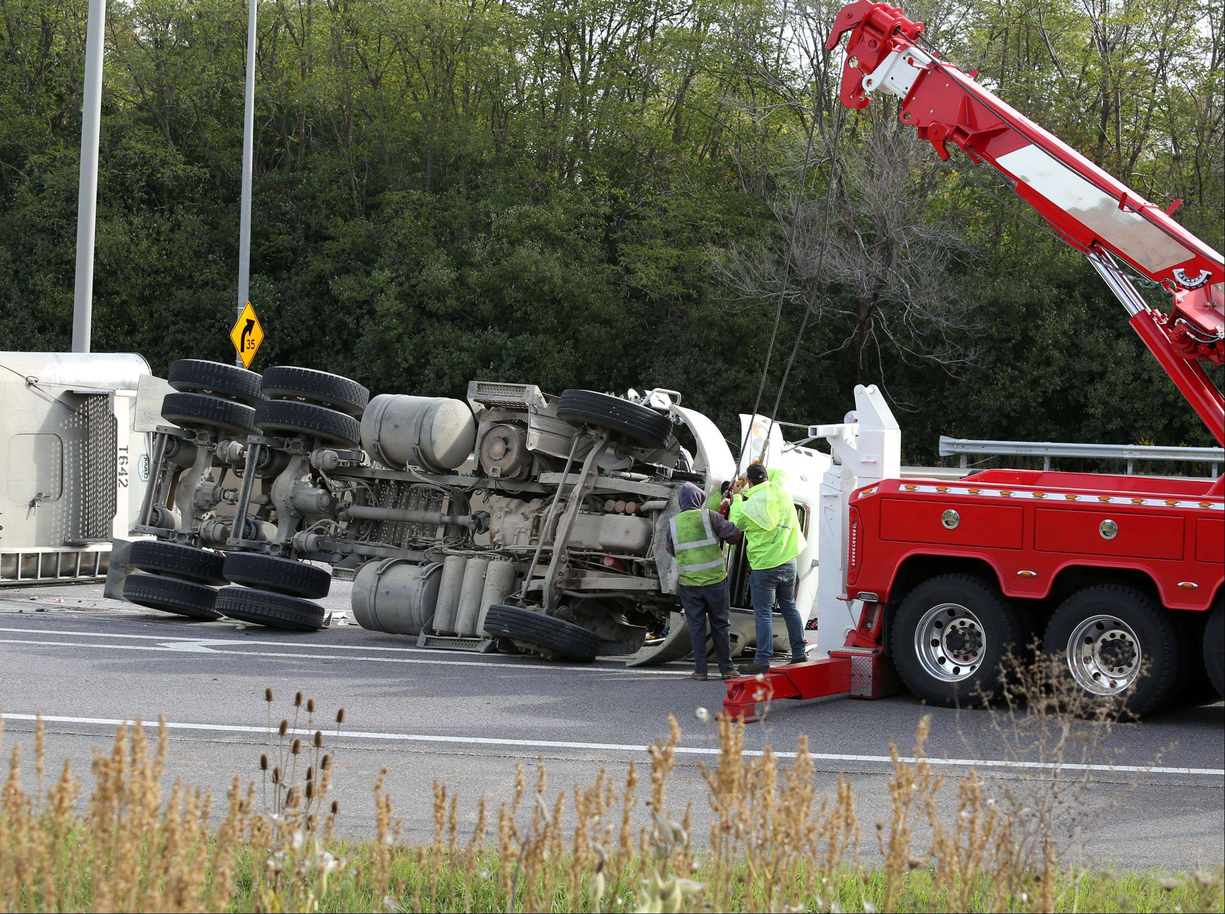 A rolled over semi truck blocked all southbound lanes on Route 53 just south of Euclid Avenue Tuesday morning, causing long delays.