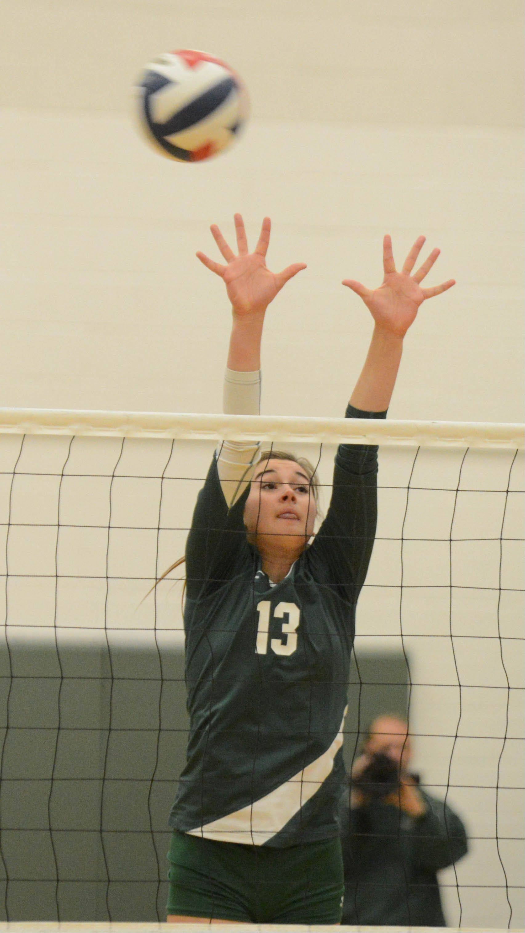 Brooke Burling of Waubonsie Valley goes up for the ball during the South Elgin at Waubonsie Valley girls volleyball game Tuesday.