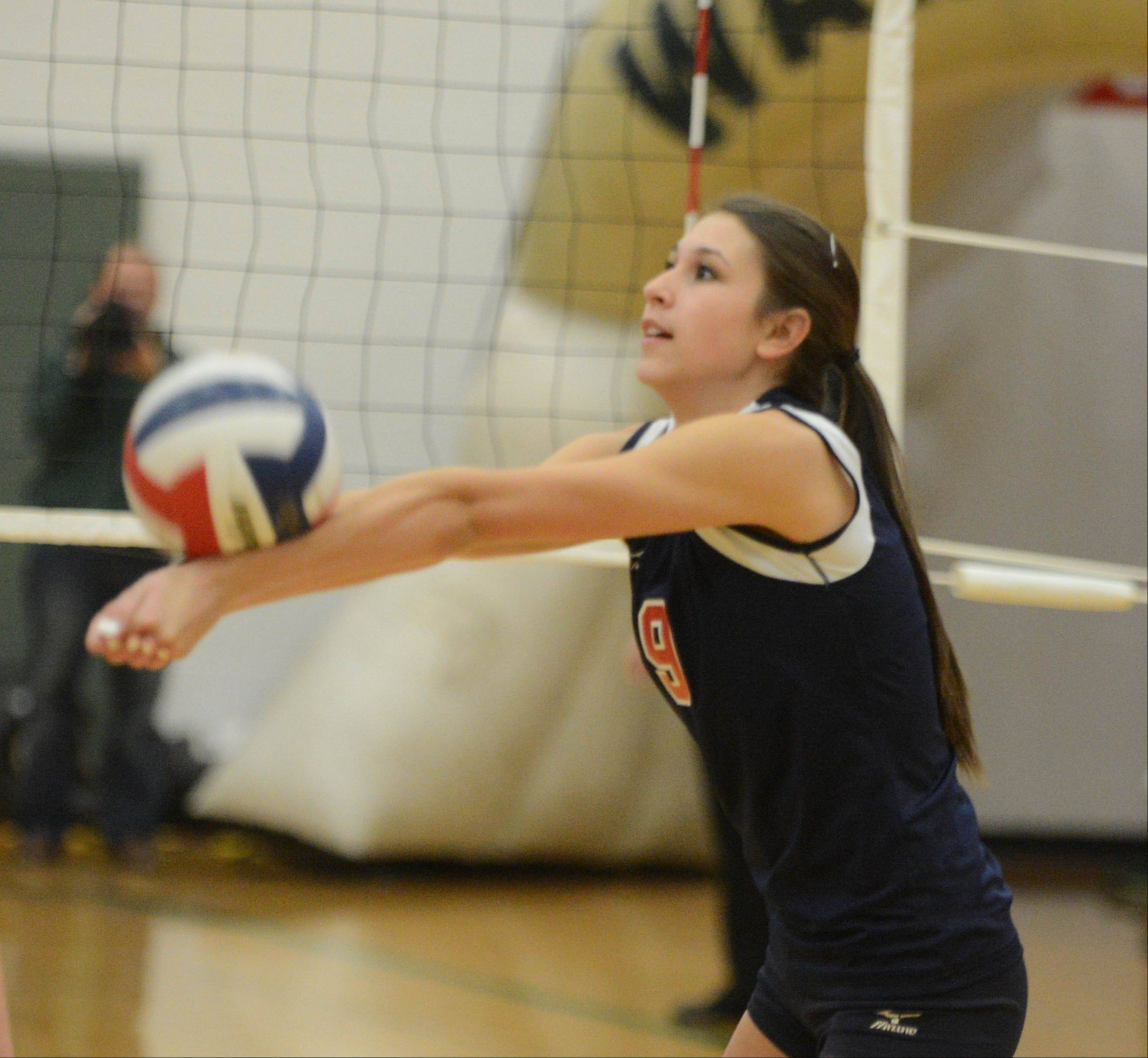 Bri Reum of South Elgin bumps the ball during the South Elgin at Waubonsie Valley girls volleyball game Tuesday.