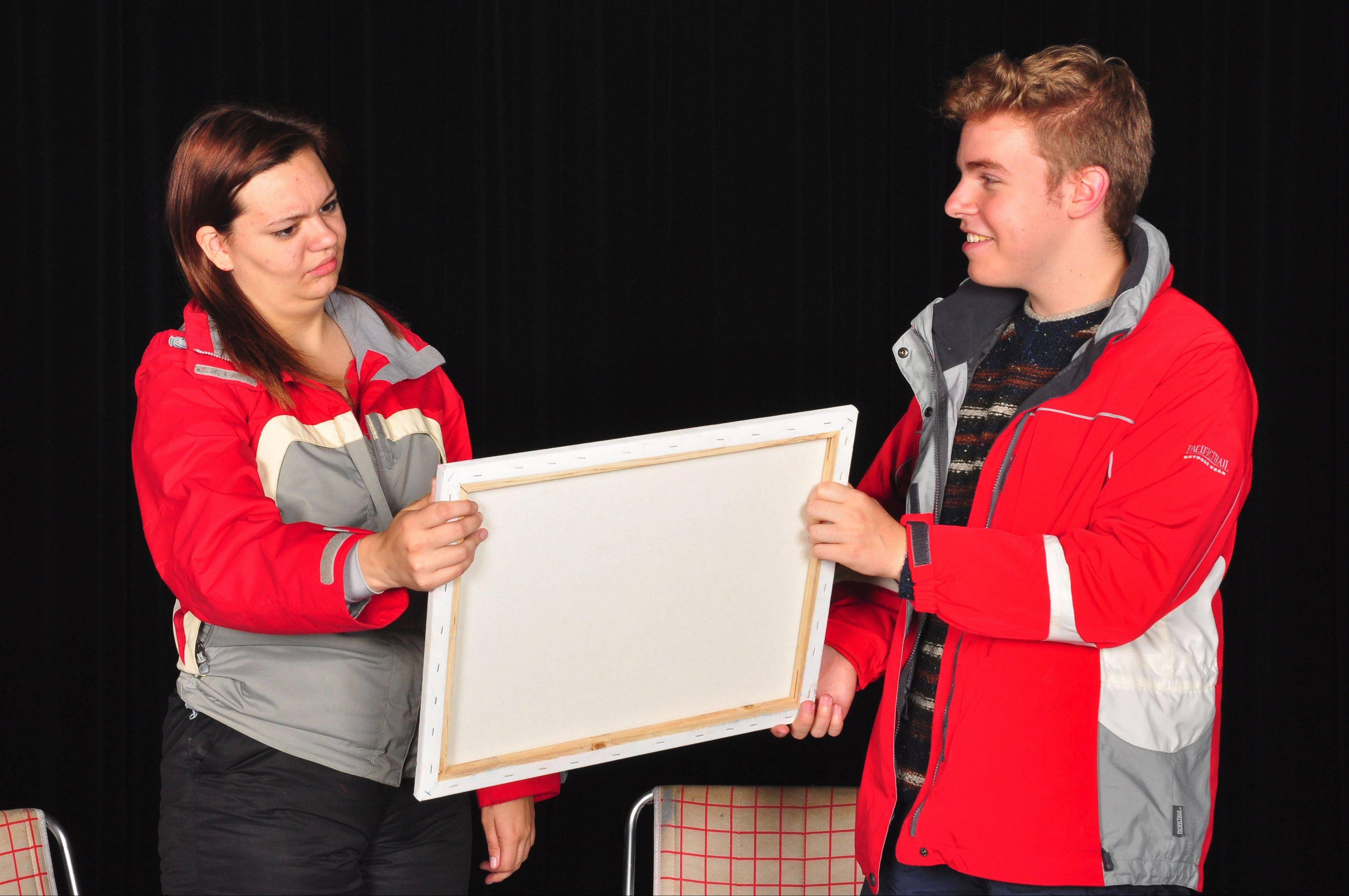 "Rhonda (Dana Lasswell) has a hard time seeing the gift that Dave (Josh Arshonsky) paints for her in ""Almost, Maine."""