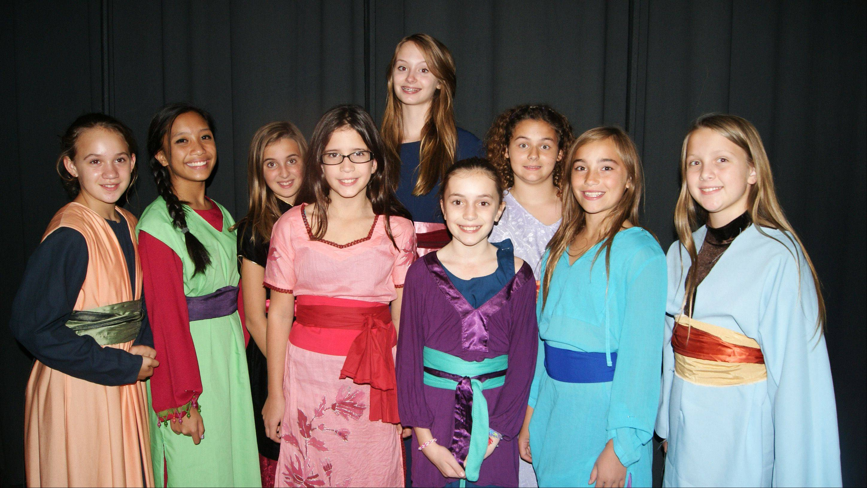 "Members of the mother's chorus rehearse for the Children's Theatre of Elgin's production of ""Mulan Jr."""
