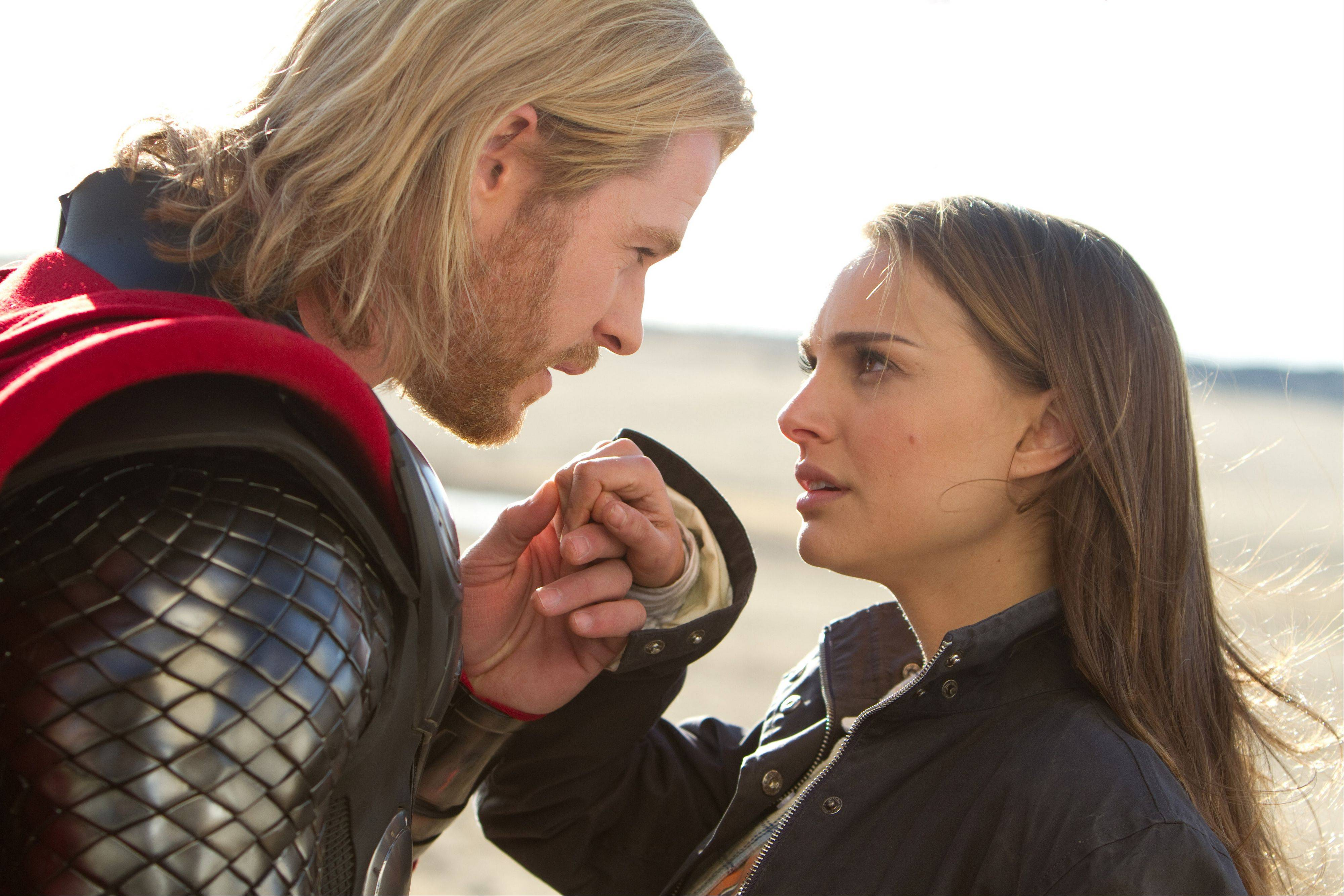 Chris Hemsworth, portraying superhero Thor, and Natalie Portman, portraying Jane Foster, in a scene from the film, �Thor.�