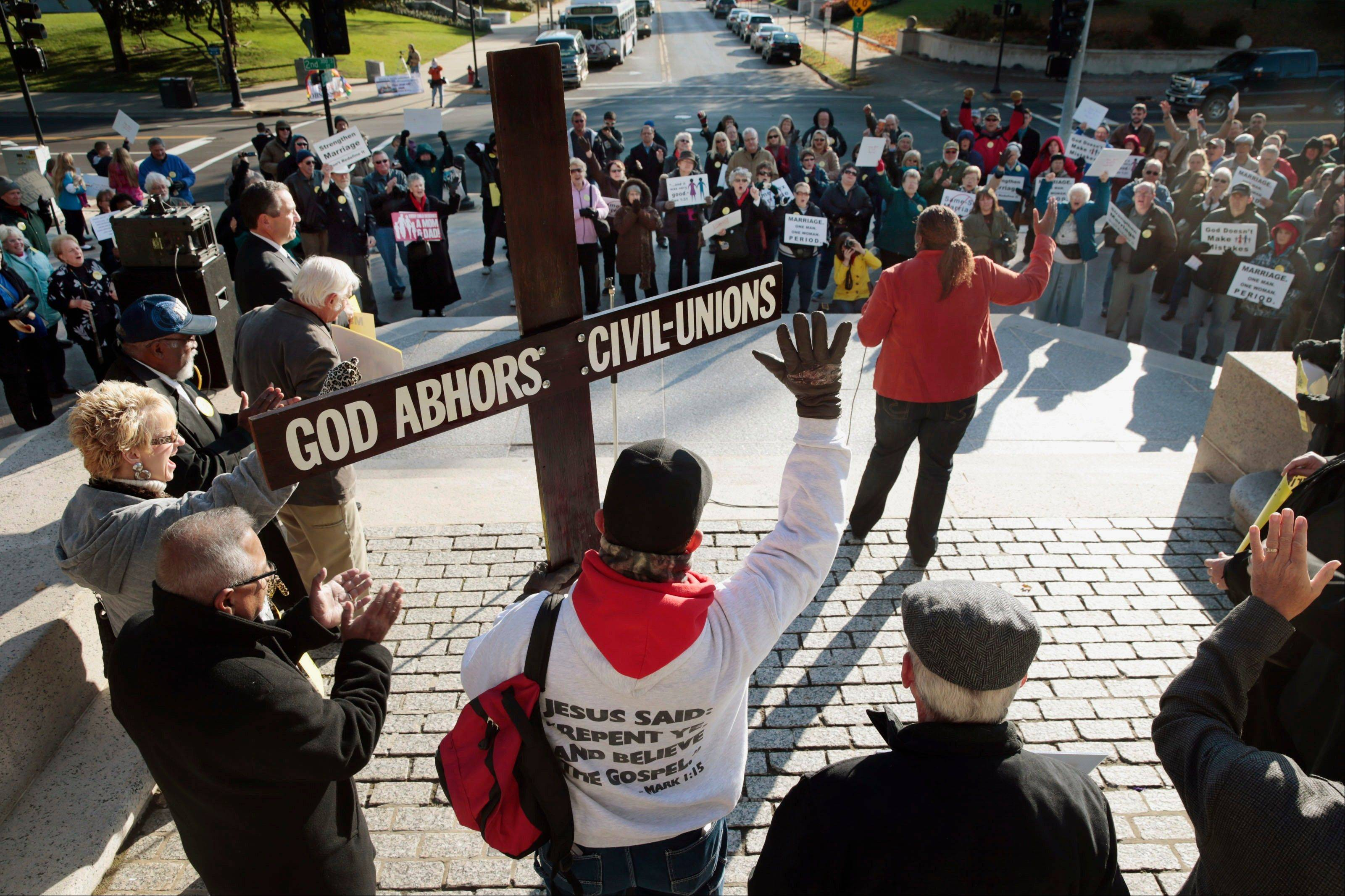 Gay marriage opponents invoke God, free speech