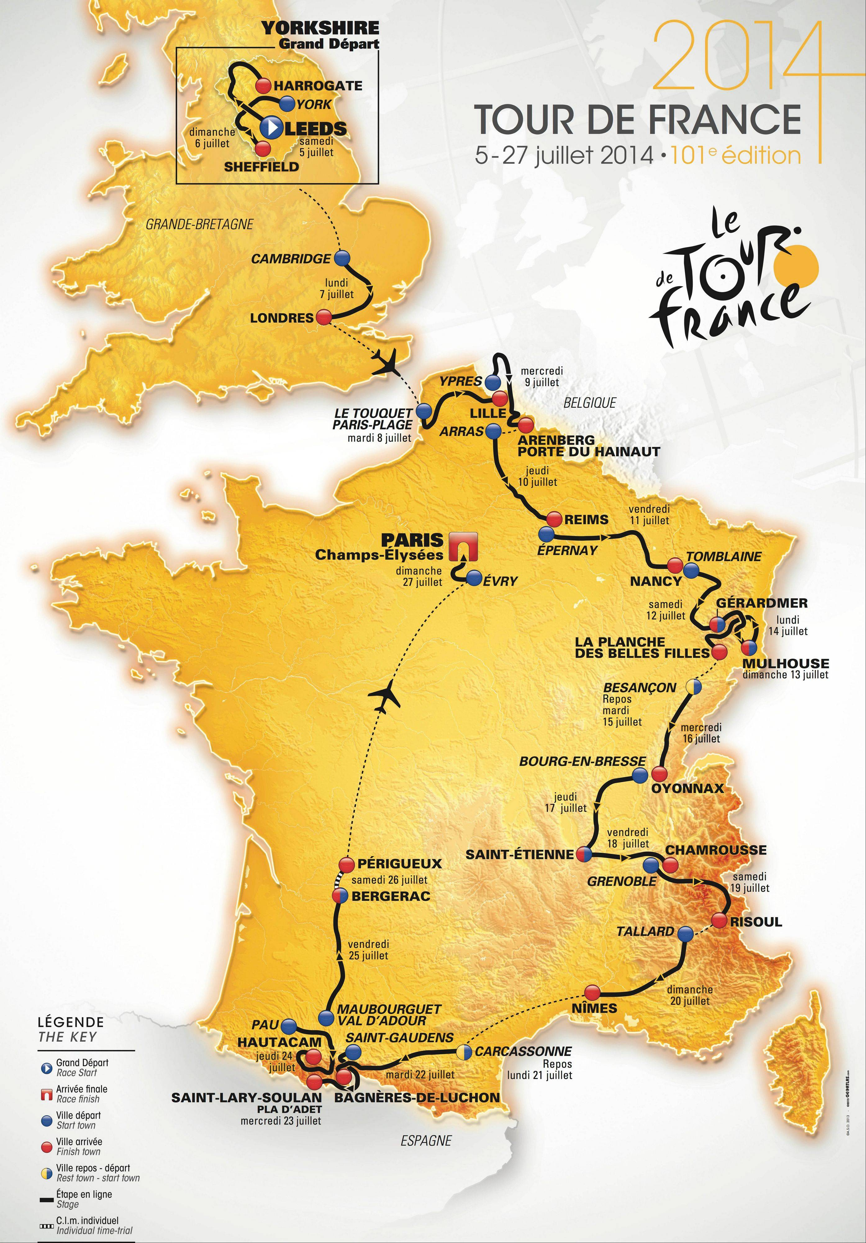 This map displays the route for the 2014 Tour de France. Starting in Leeds, England, on July 5, the 101st tour will end 22 days later on the Champs-Élysées in Paris.