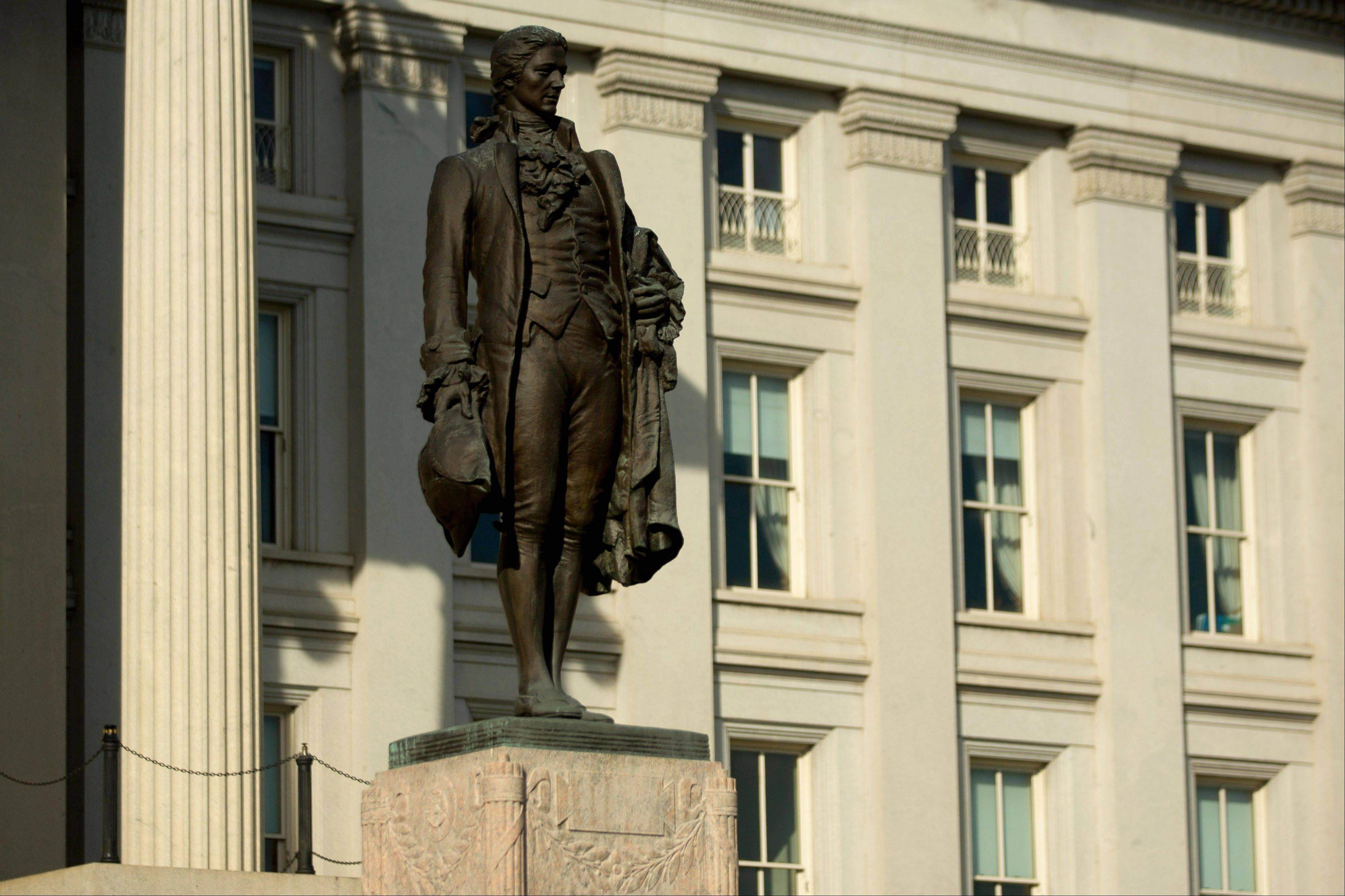 A statue of Alexander Hamilton, the first U.S. Treasury secretary, stands at the U.S. Treasury in Washington, D.C.