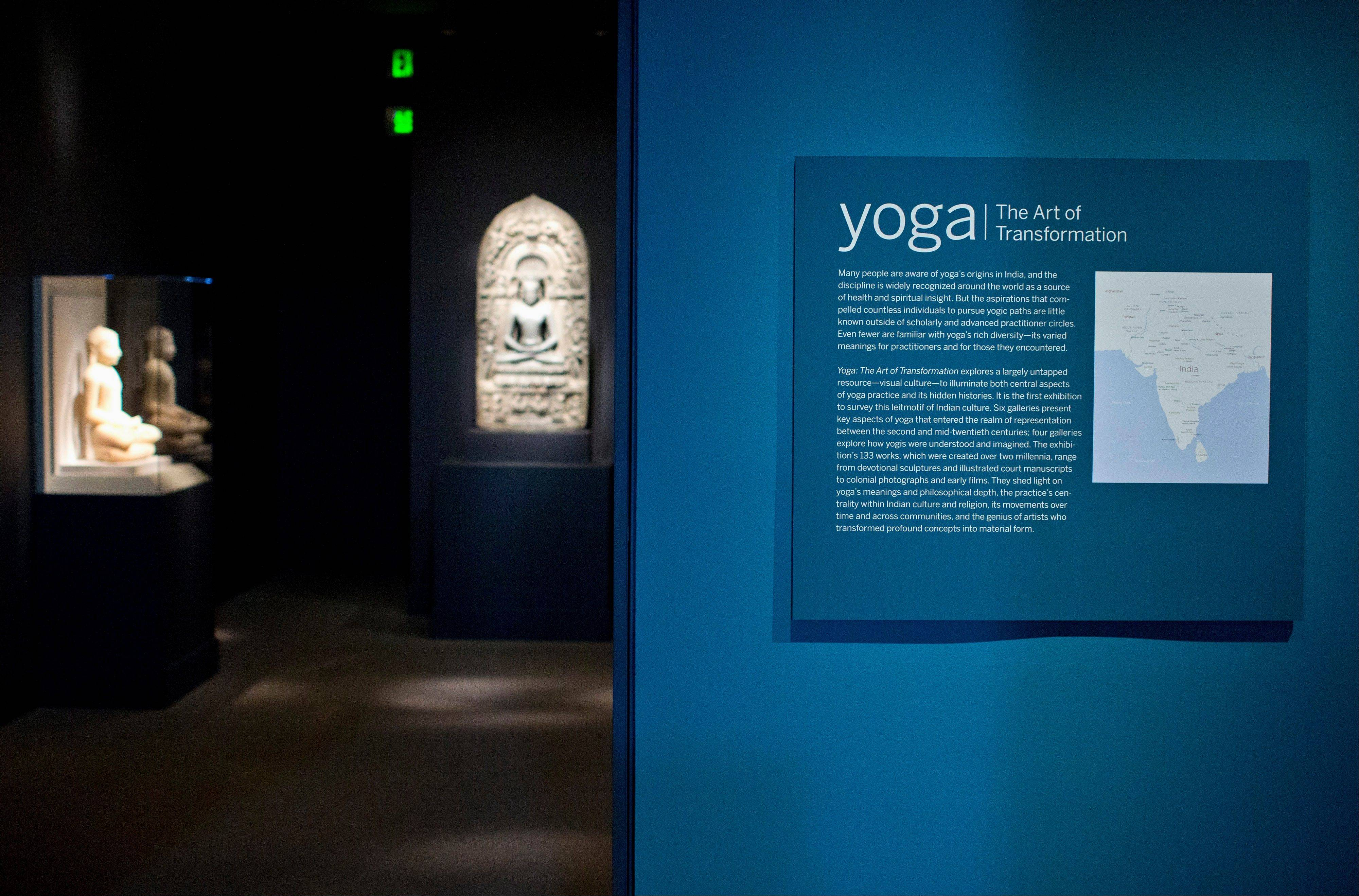 "The Smithsonian Institution's new exhibit, ""Yoga: The Art of Transformation,"" Indian sculpture, manuscripts and paintings, as well as posters, illustrations, photographs and films to showcase the history of yoga over 2,000 years."