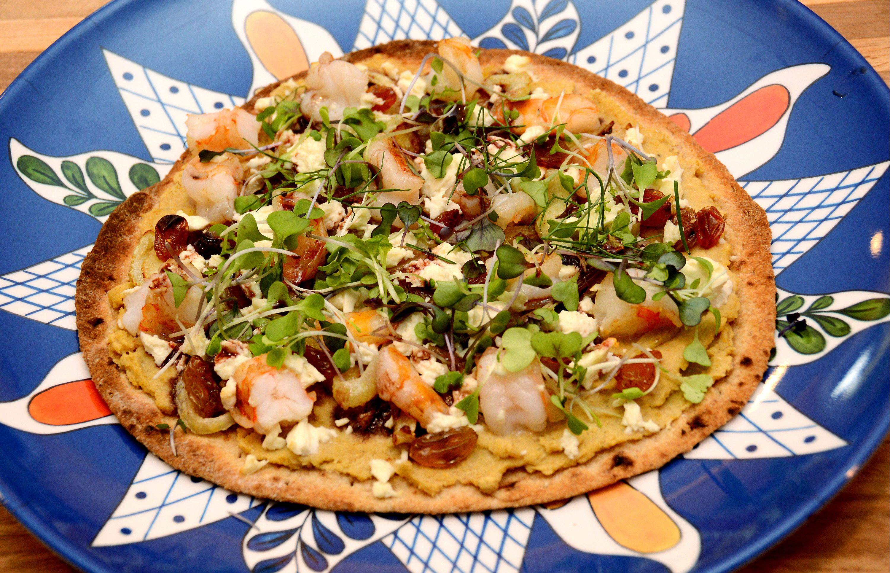 Lori Motyka's flatbread pizza started with a sauce made with sardines and chick peas.