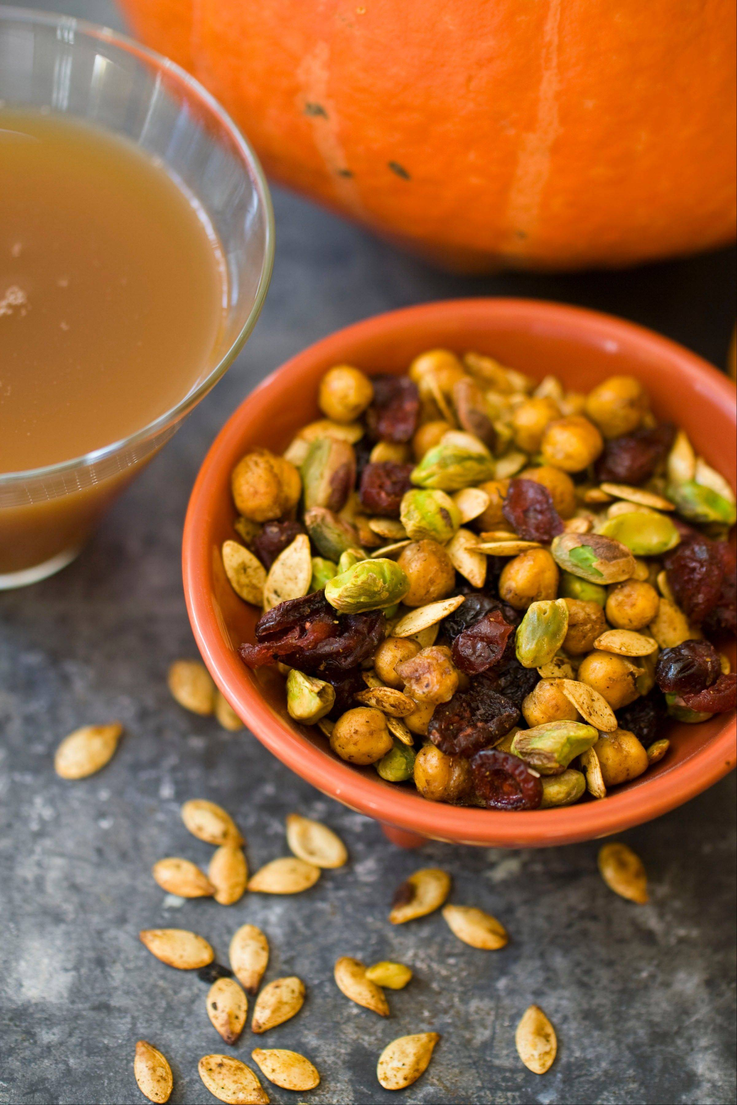 Pumpkin seeds mingle with pistachios and dried cranberries in this Healthy Halloween Snack Mix.