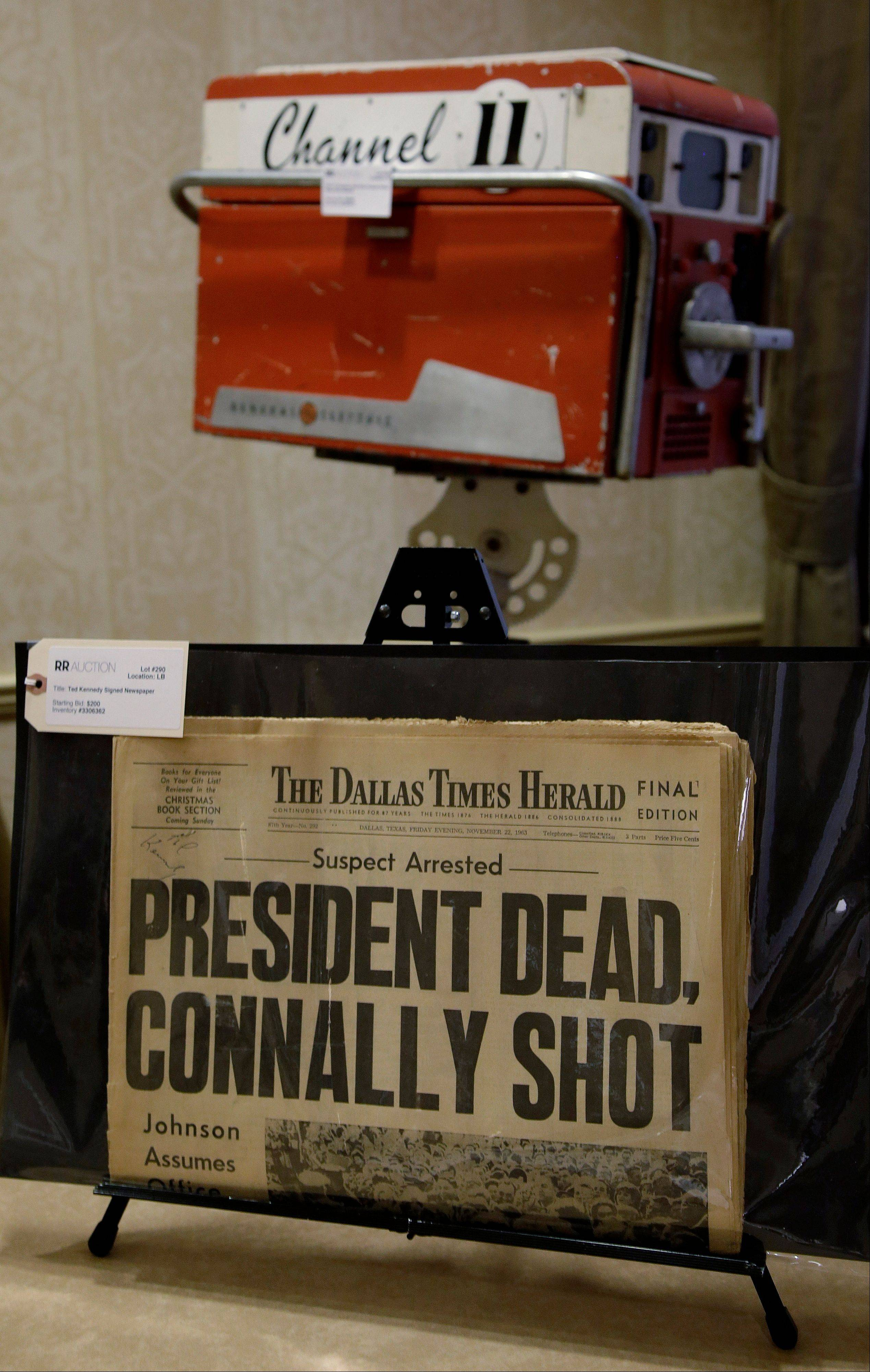 A copy of the final edition of The Dallas Times Herald from the afternoon of November 22, 1963 proclaims the assassination of President John Fitzgerald Kennedy.