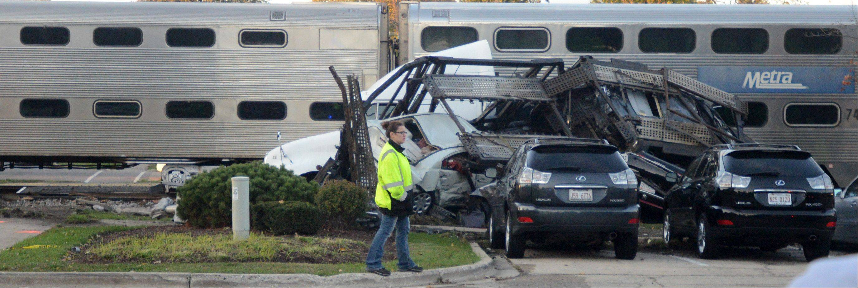 A Pennsylvania truck driver has been cited in connection with Monday's crash with a Metra commuter train just west of the Bartlett train station. Police say he violated a highway rail grade crossing and avoided a traffic control device.