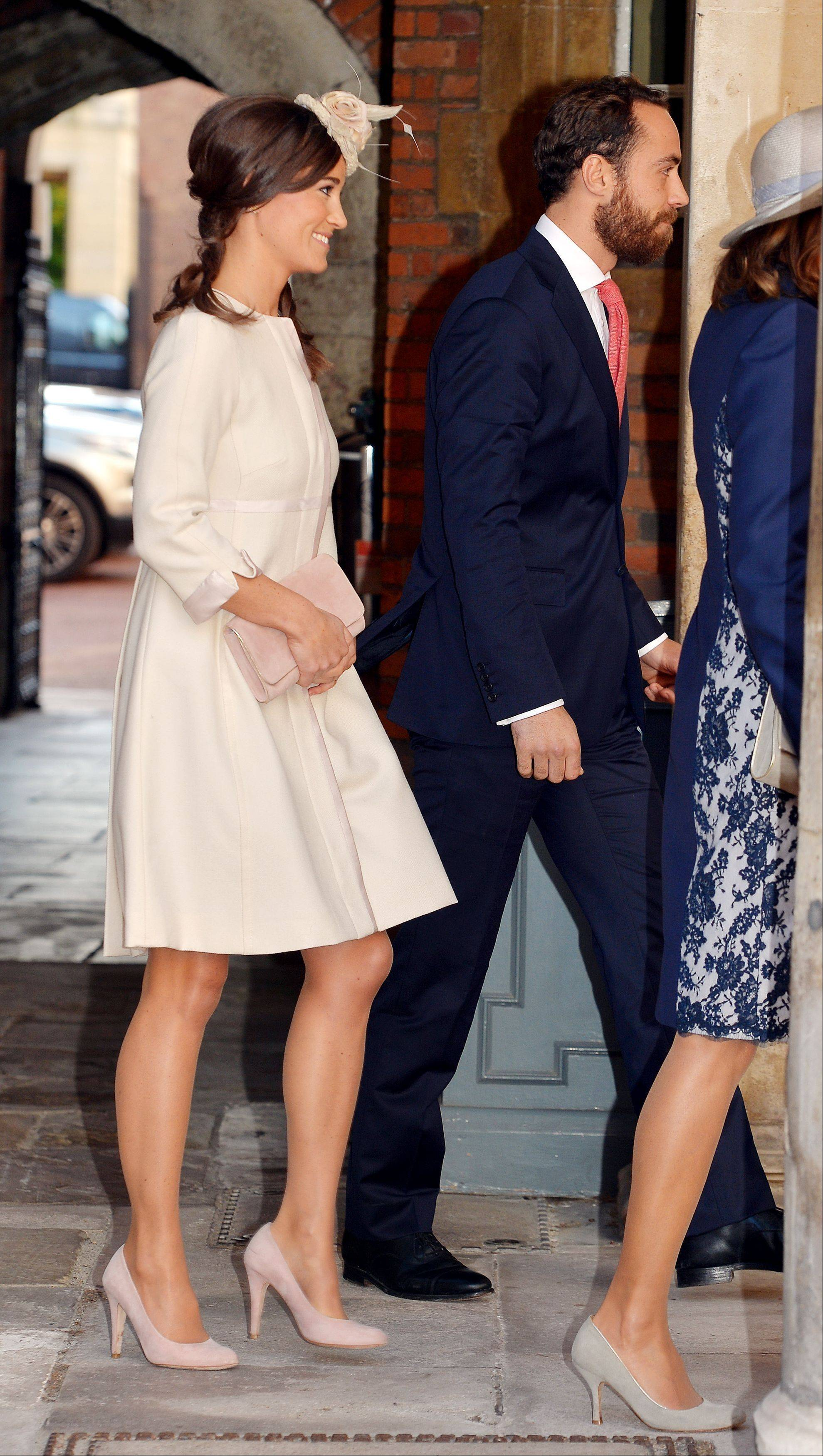 Pippa and James Middleton the bother and sister of Britain's Kate Duchess of Cambridge arrive at the Chapel Royal in St James' Palace for the christening their nephew Prince George.