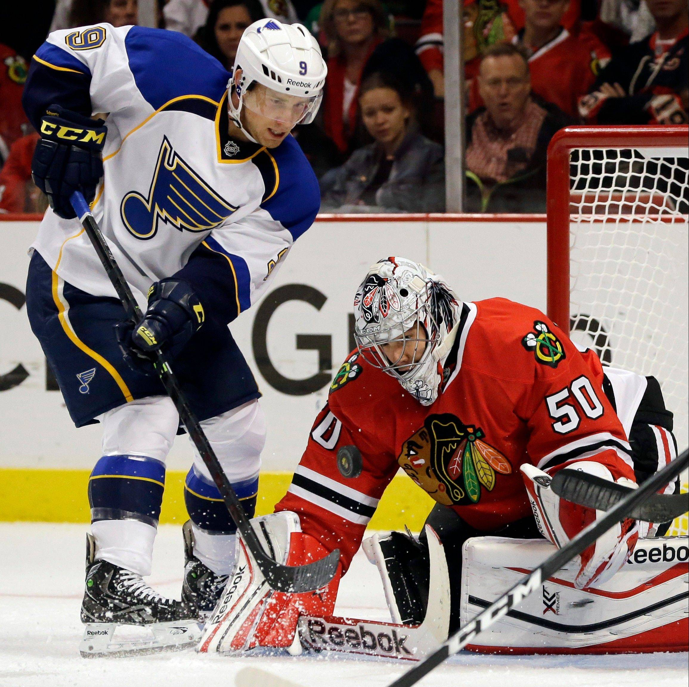 Blackhawks goalie Corey Crawford is 5-1-2 on the young season with a .921 save percentage.