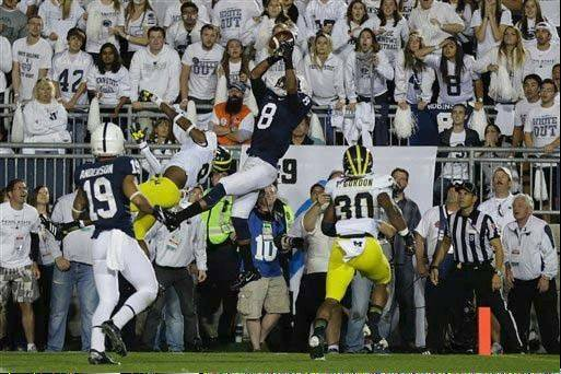Penn State wide receiver Allen Robinson hauls in a pass during the Oct. 12 game against Michigan. Robinson leads the Big Ten in receptions with 43 and is second in yardage with 705.
