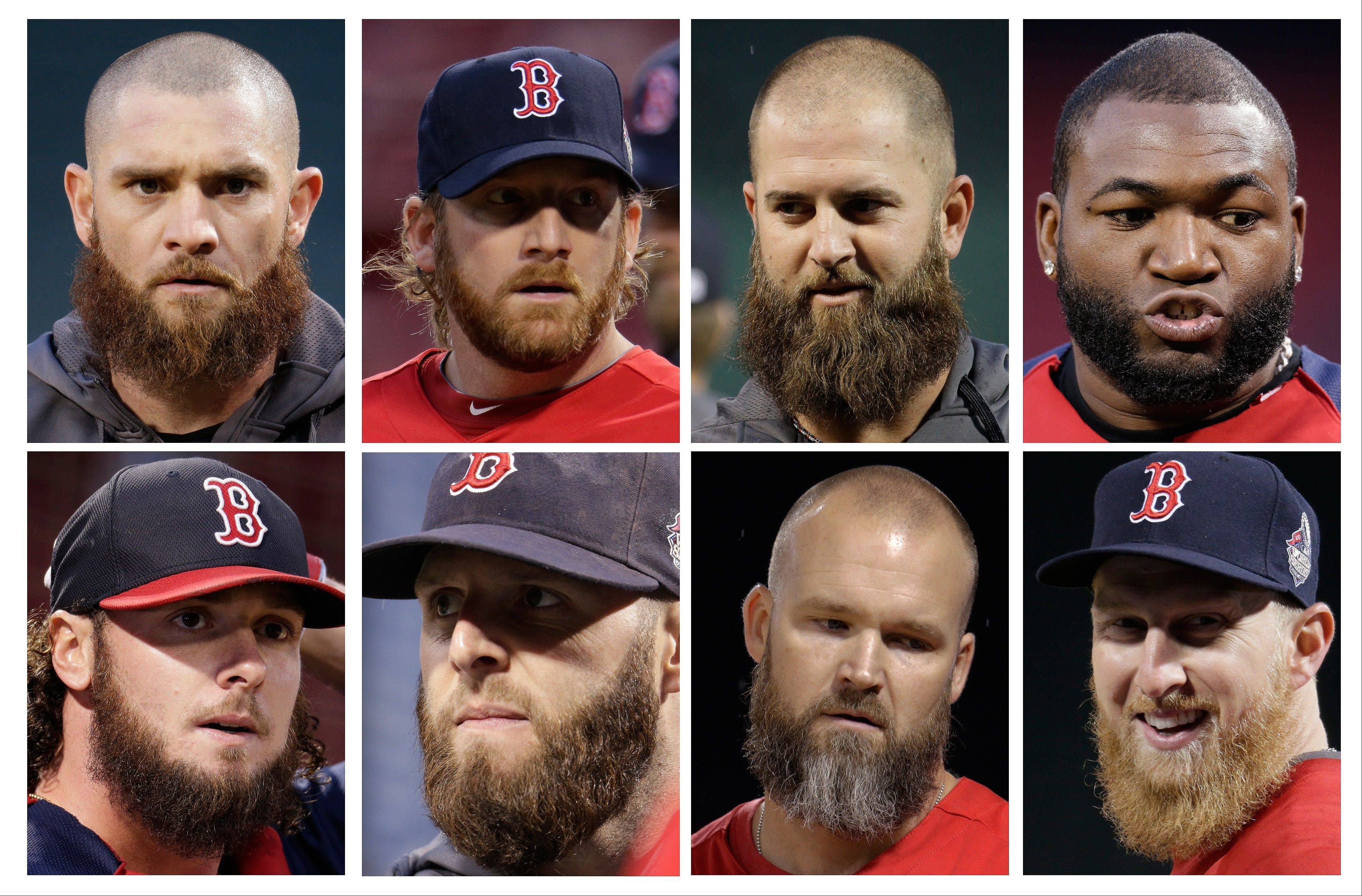 Here are some bearded Boston Red Sox players. Top row from left: Jonny Gomes, Ryan Dempster, Mike Napoli and David Ortiz. Bottom row from left: Jarrod Saltalamacchia, Dustin Pedroia, David Ross and Mike Carp.