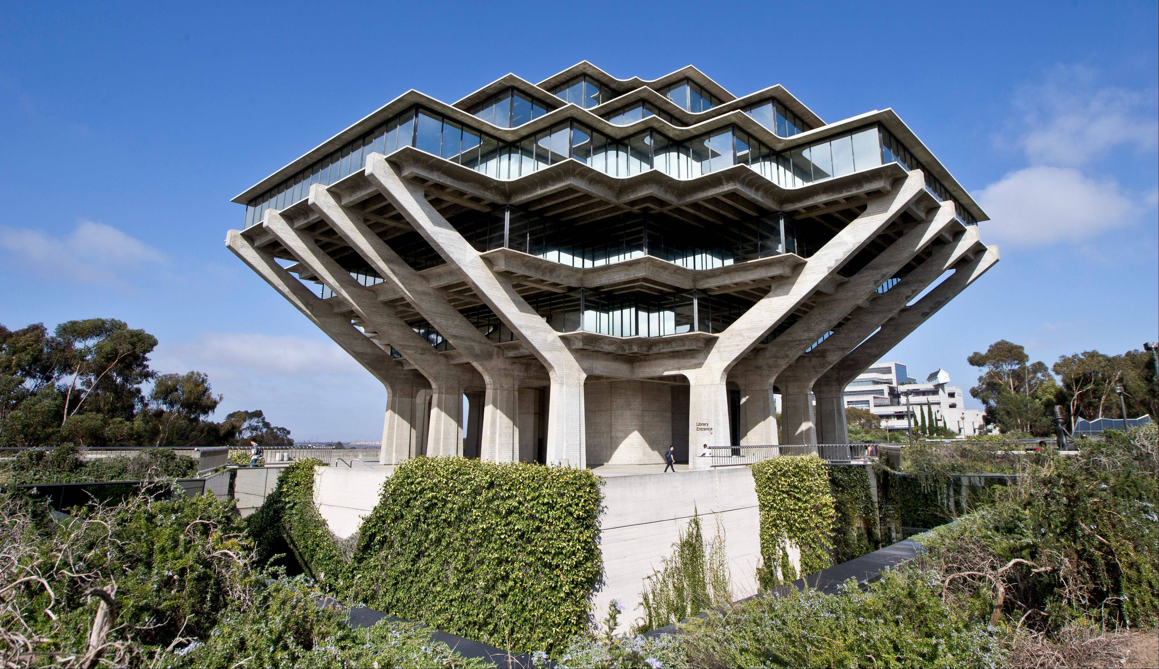 The Geisel Library, designed by architect William Pereira, is just one of many places to visit on the campus of the University of California, San Diego.