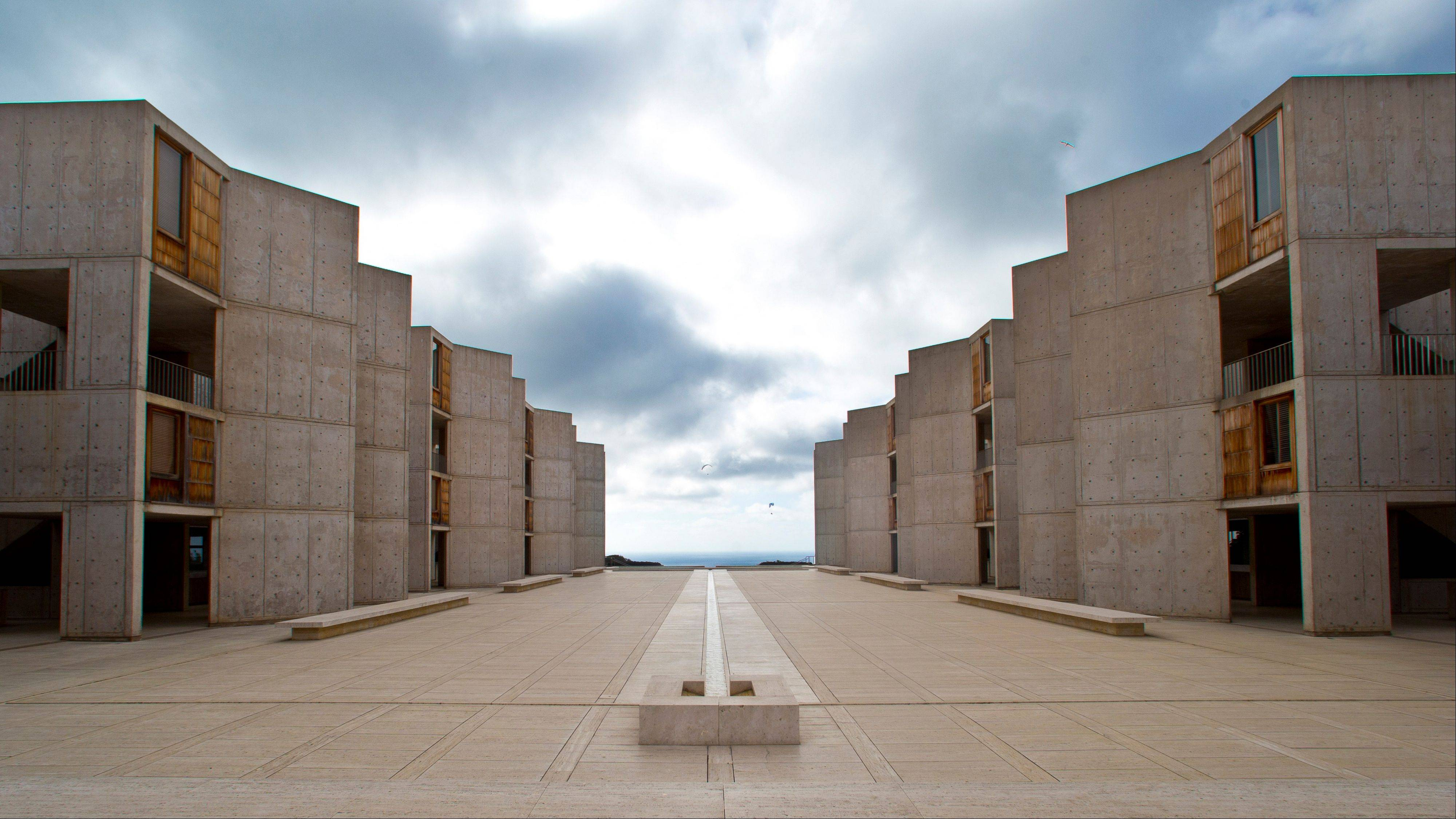 The Salk Institute, designed by world-renowned architect Louis I. Kahn, sits above the Pacific Ocean and adjacent to the glider port and the University of California, San Diego.
