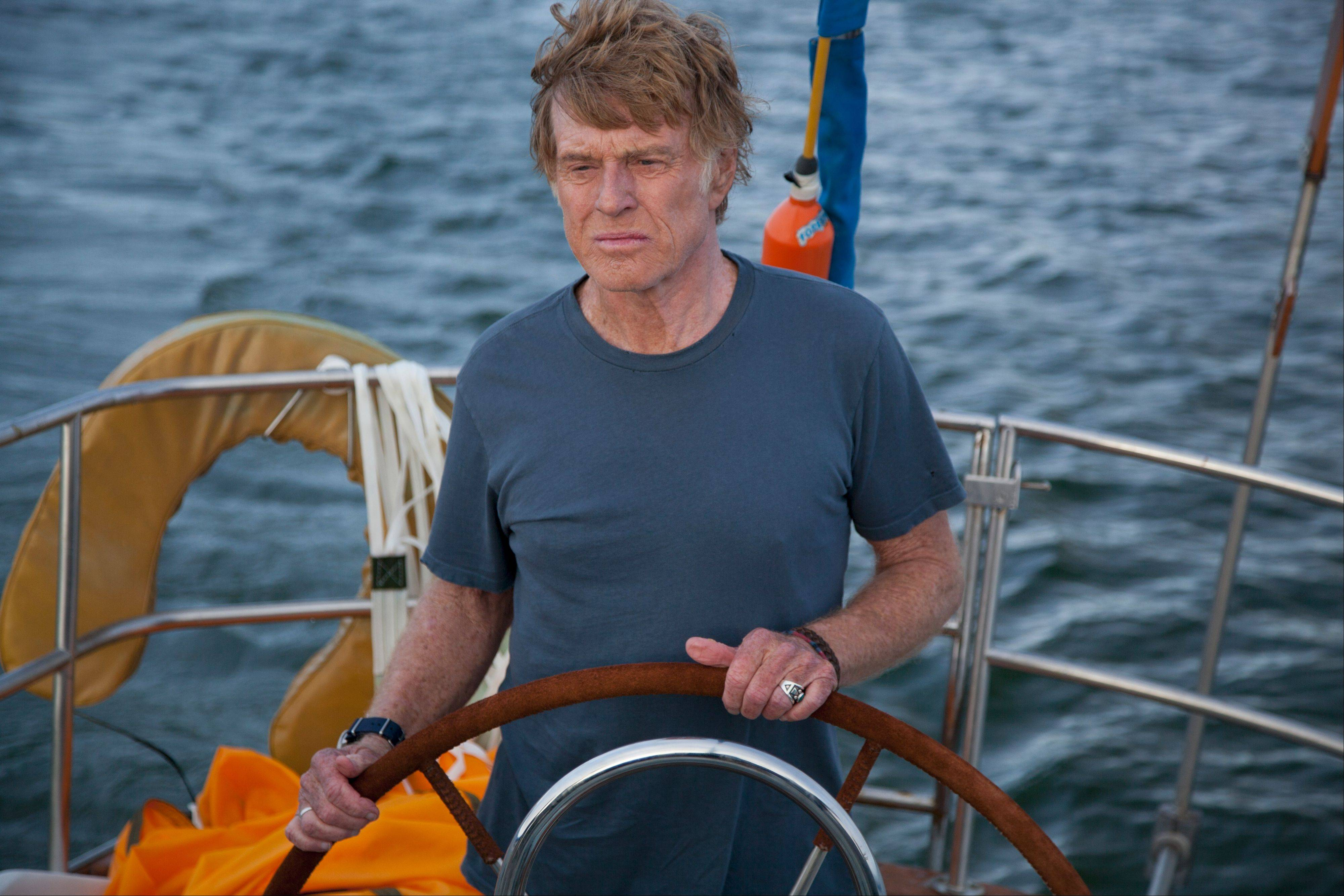 "In ""All is Lost,"" Robert Redford plays a nameless sailor aboard a 39-foot-yacht, trapped at sea without communication, power or supplies."