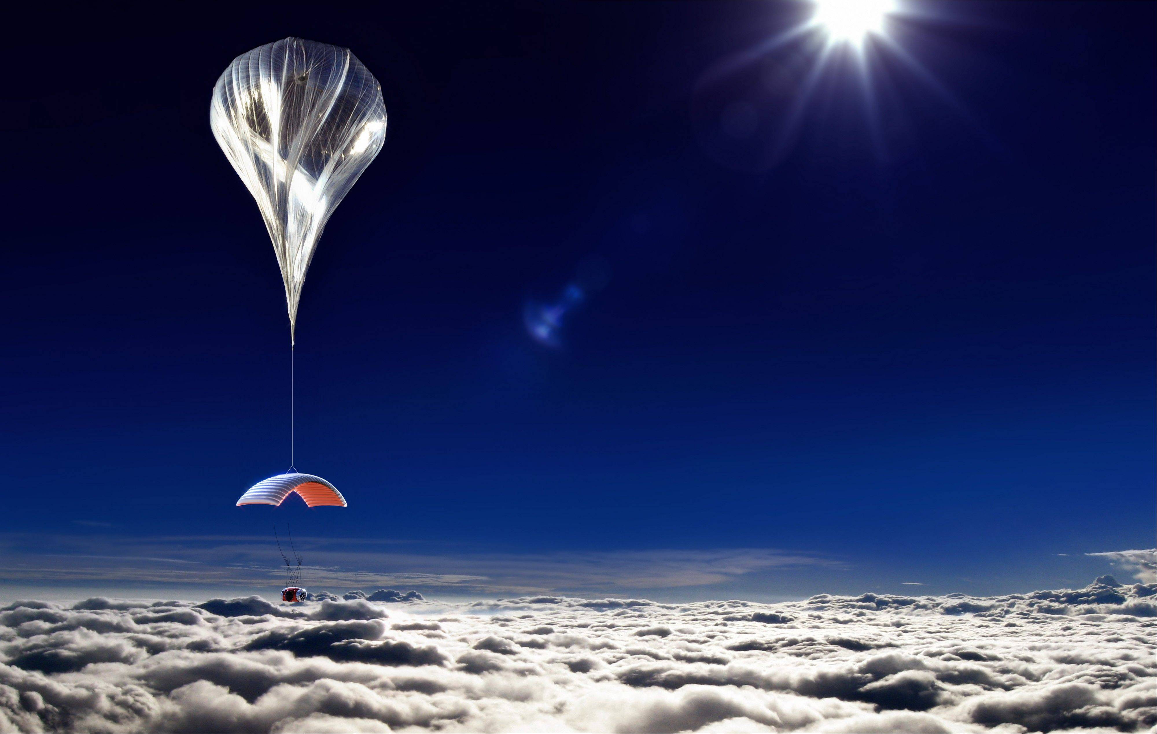 This artist's rendering shows a capsule lifted by a high-altitude balloon up 19 miles into the air for tourists. Company CEO Jane Poynter said people would pay $75,000 to spend a couple of hours looking down at the curve of the Earth.