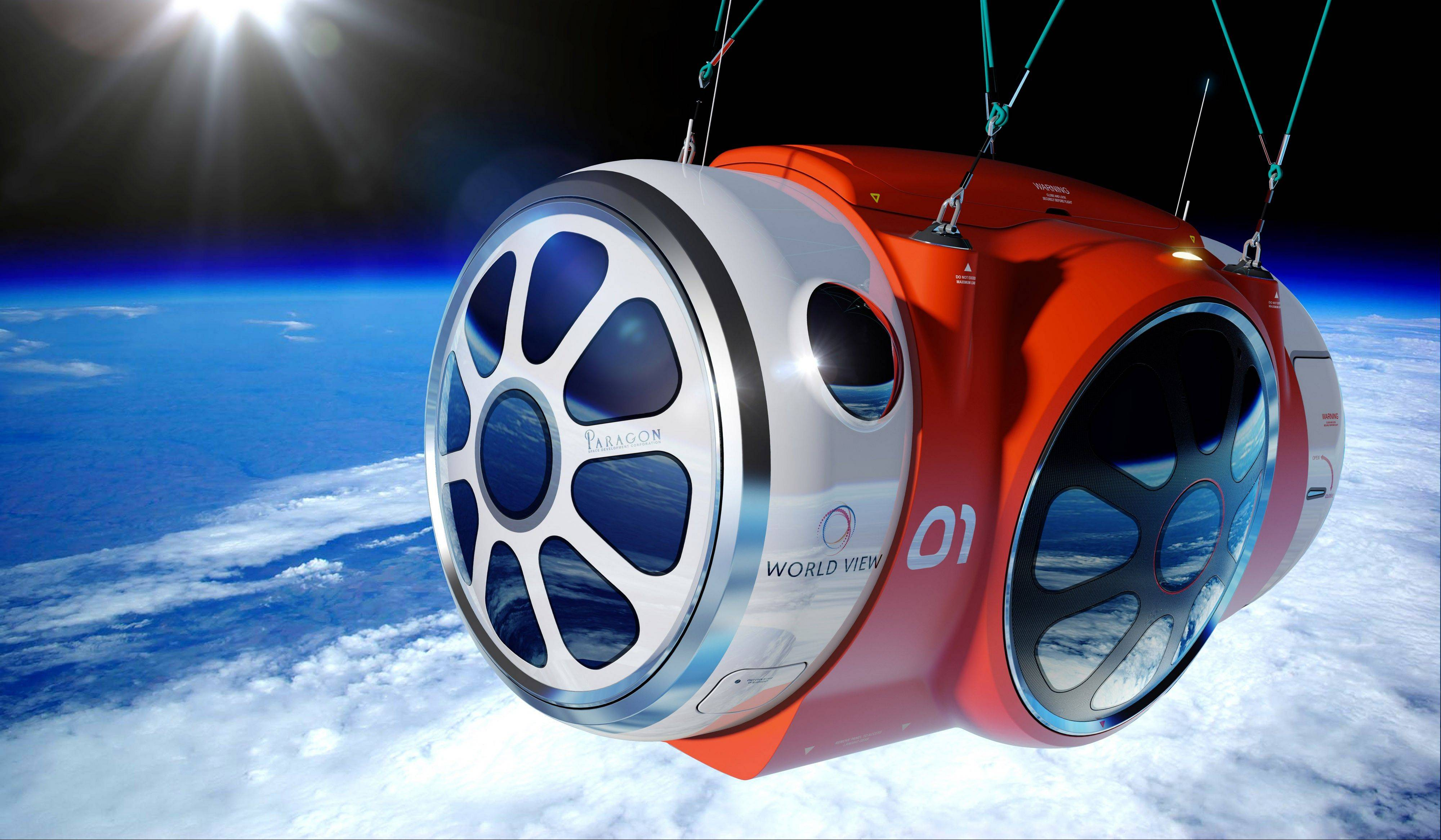 This artist's rendering shows the design for a capsule lifted by a high-altitude balloon up 19 miles into the air for tourists.