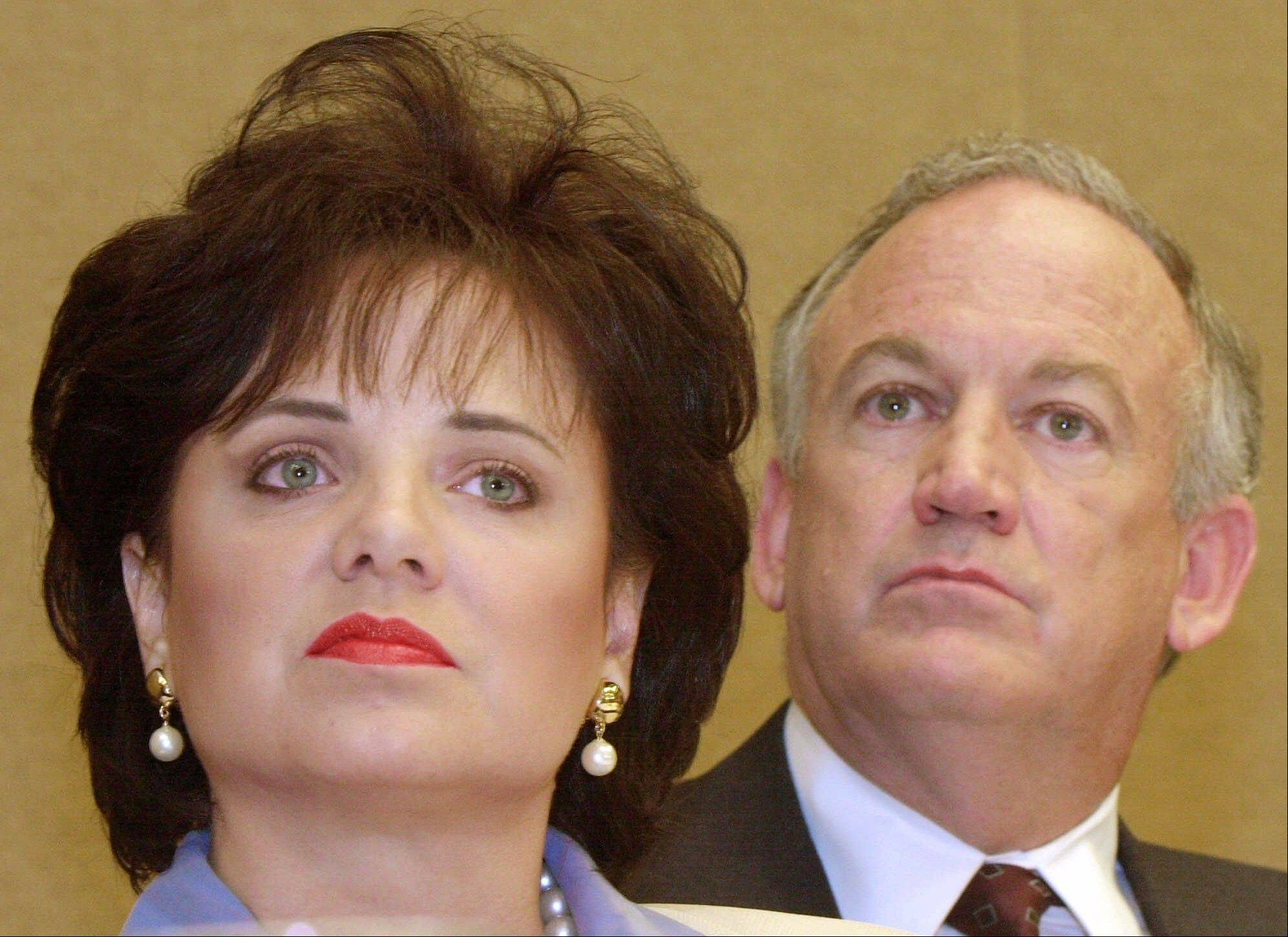 In this May 24, 2000 photo, Patsy Ramsey and her husband, John, parents of JonBenet Ramsey, during a news conference in Atlanta regarding their lie-detector examinations for the murder of their daughter.