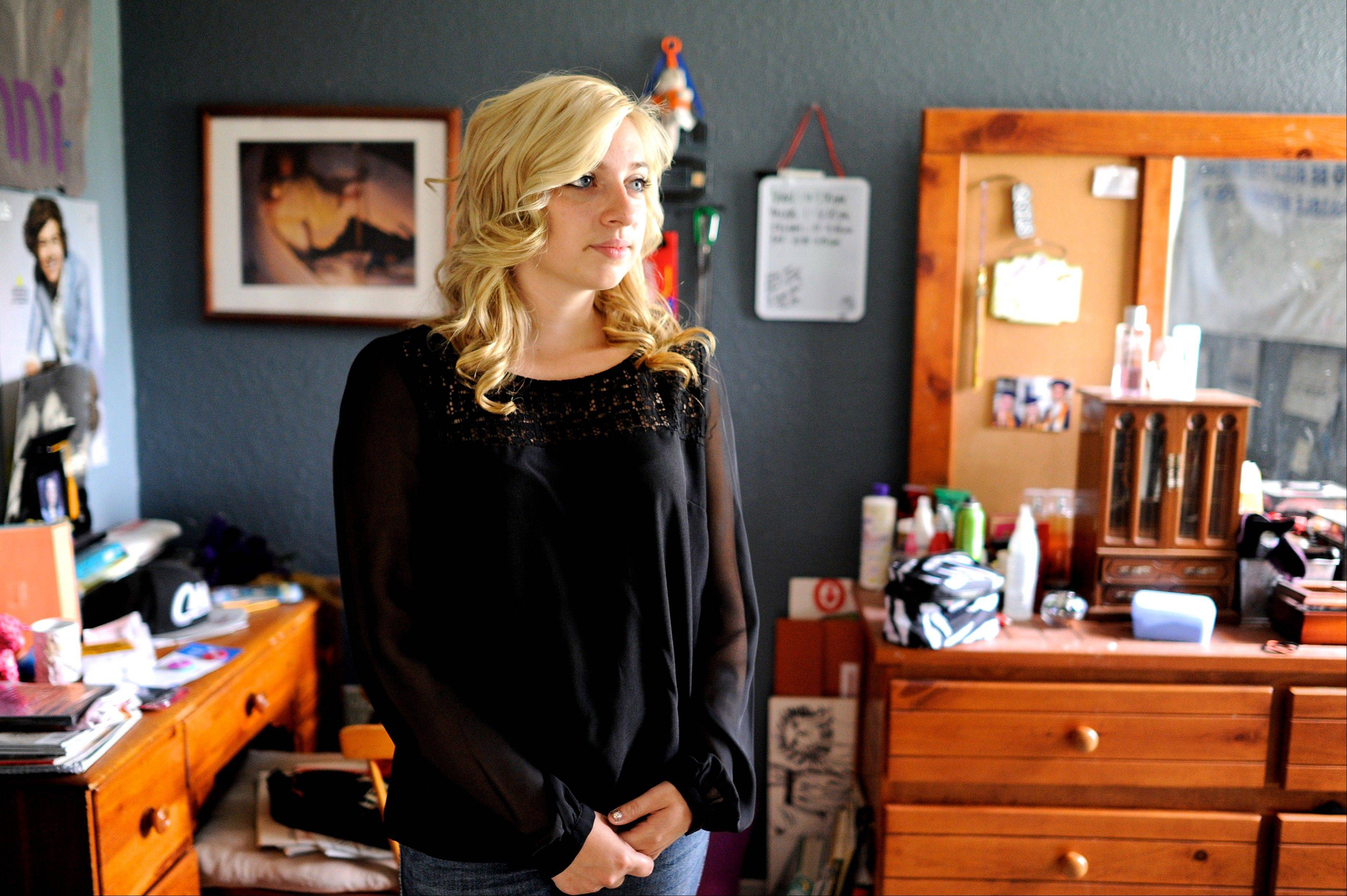 Sarah Ball, a victim of cyber bullying during her high school years, at her home Wednesday.