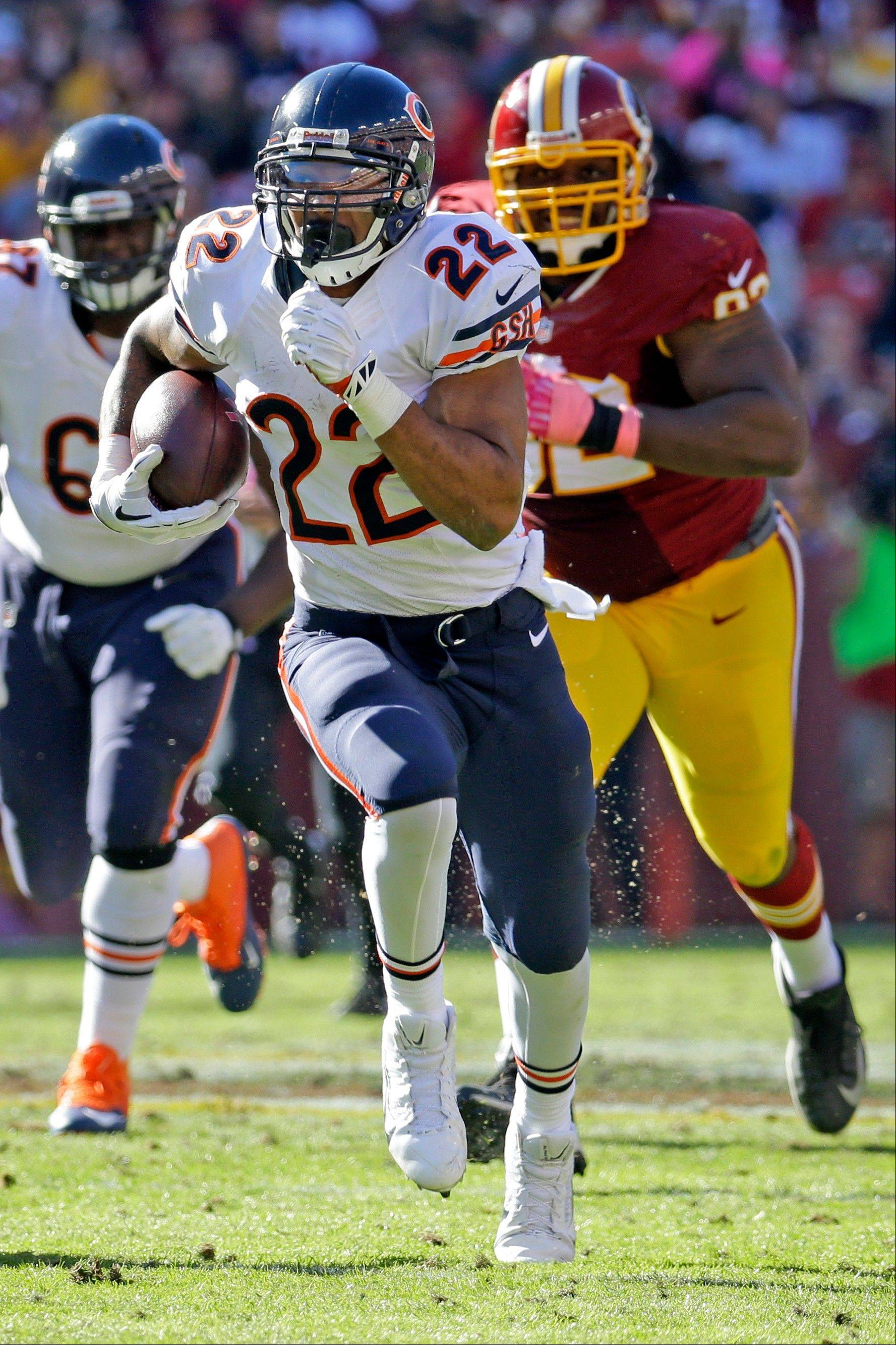Bears running back Matt Forte takes off on a 50-yard touchdown run in Sunday's loss at Washington. Forte has been thriving so far in coach Marc Trestman's offense.