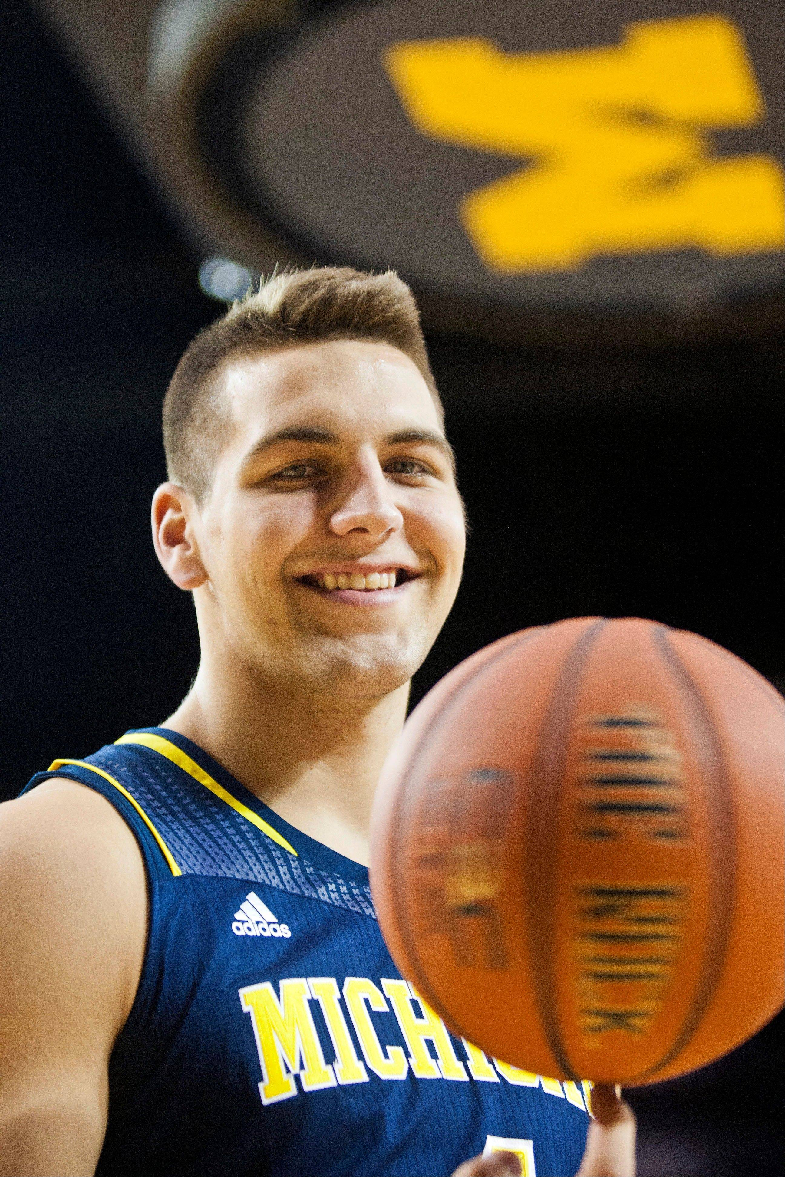 Michigan sophomore Mitch McGary poses for a portrait during the team's media day Thursday at the Crisler Center in Ann Arbor, Mich.