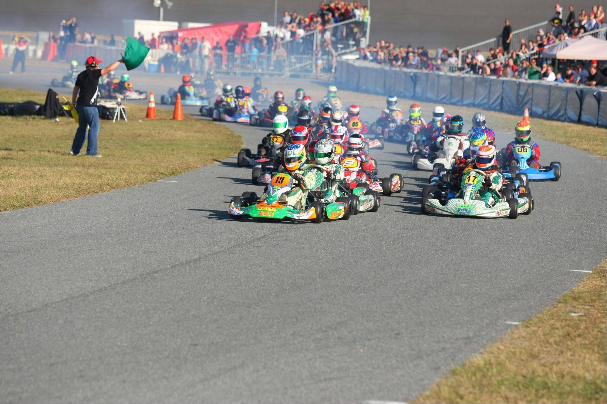 Kyle Kalish, a four-time national champion go-kart racer, leads the pack at a recent race. People familiar with the go-kart circuit consider Kyle one of the nation's elite young drivers.