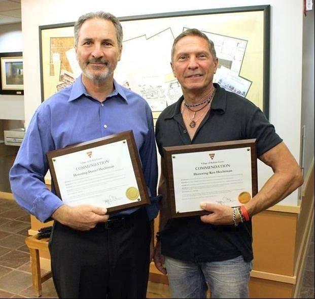 Daniel and Ken Hechtman are honored for their heroism last April.