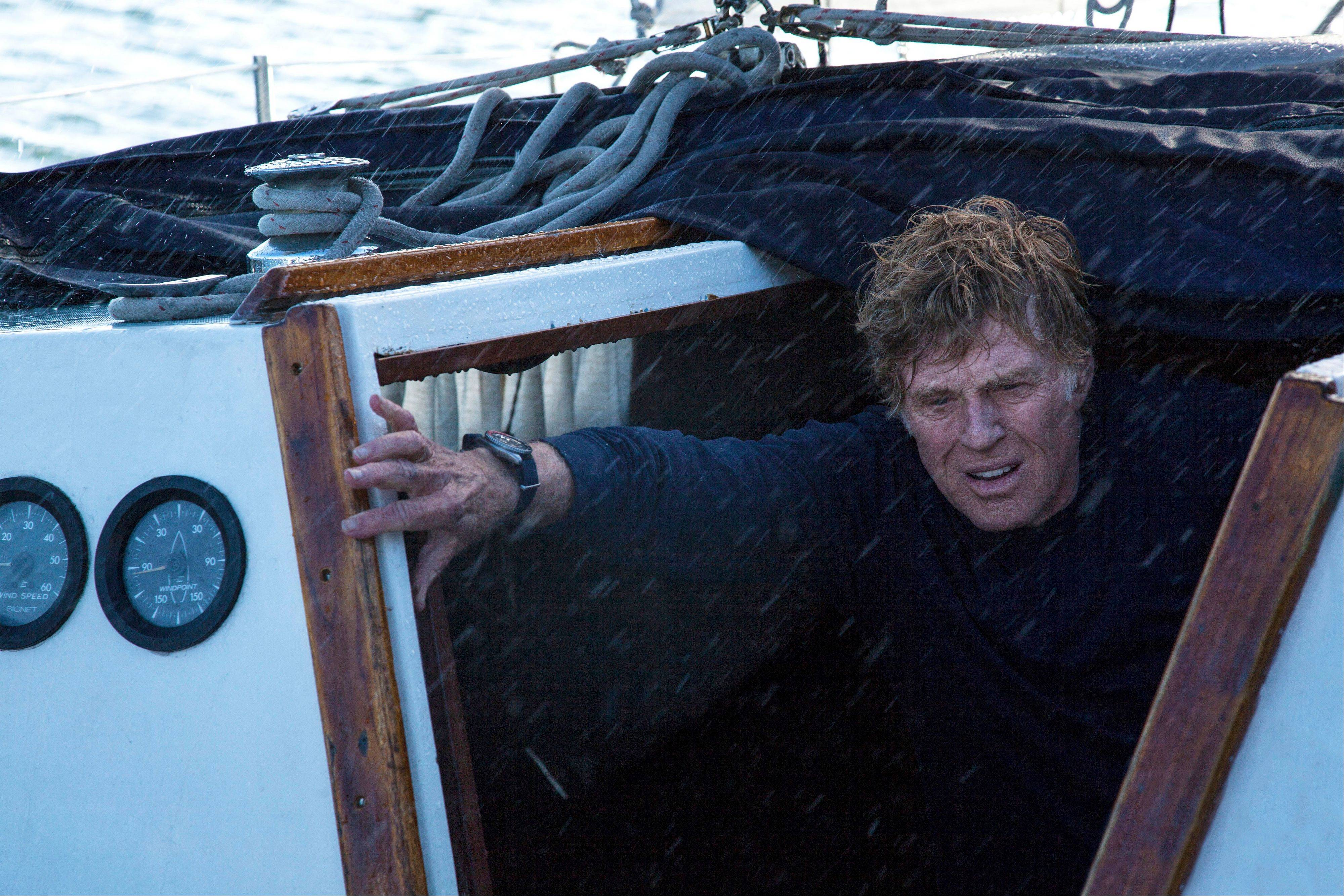 "Robert Redford plays the lone sailor facing his own mortality after a collision with a shipping container in the Indian Ocean in ""All is Lost."""