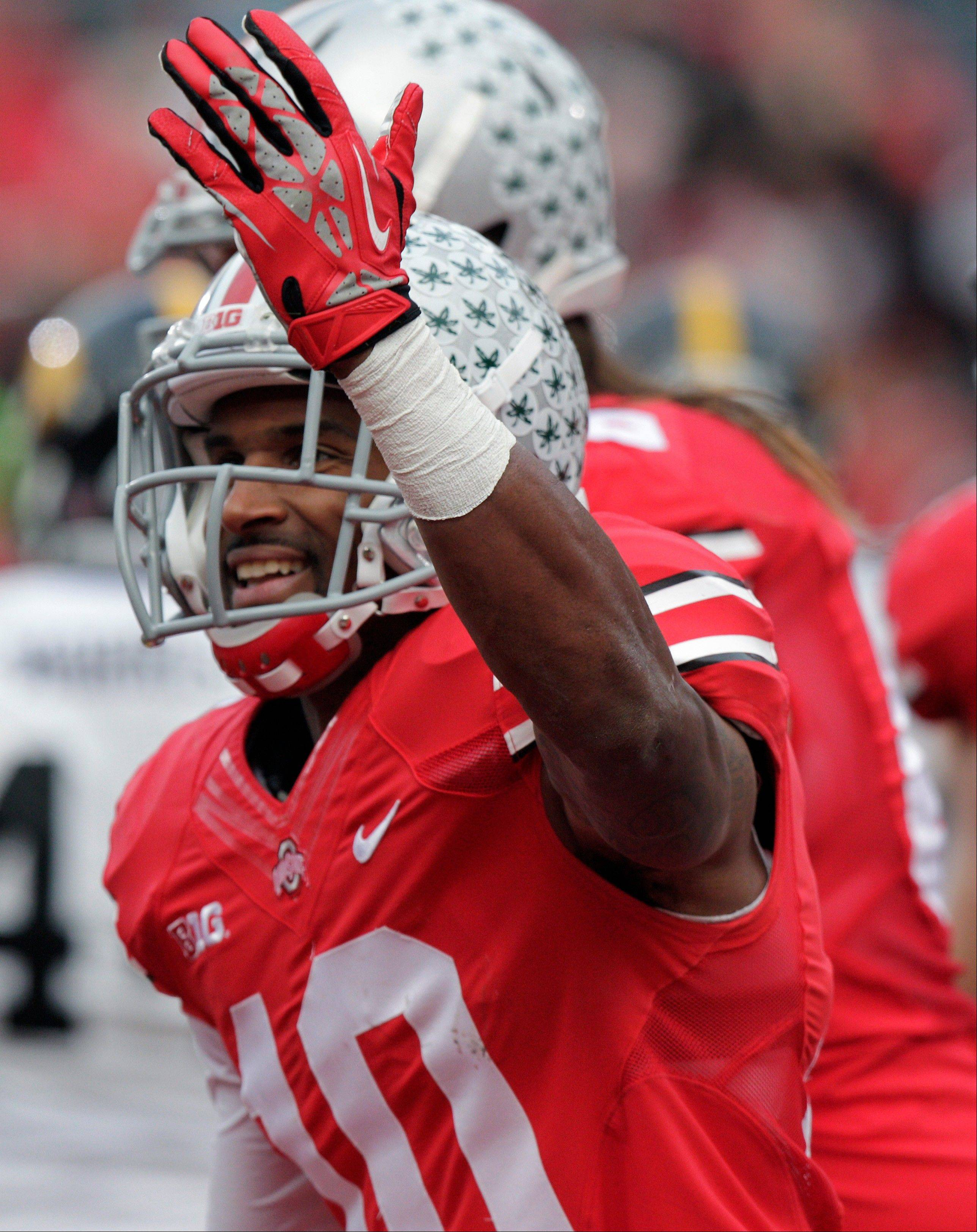 Ohio State wide receiver Corey Brown celebrates his touchdown against Iowa last Saturday. The Buckeyes have won 19 straight games dating back to last season.