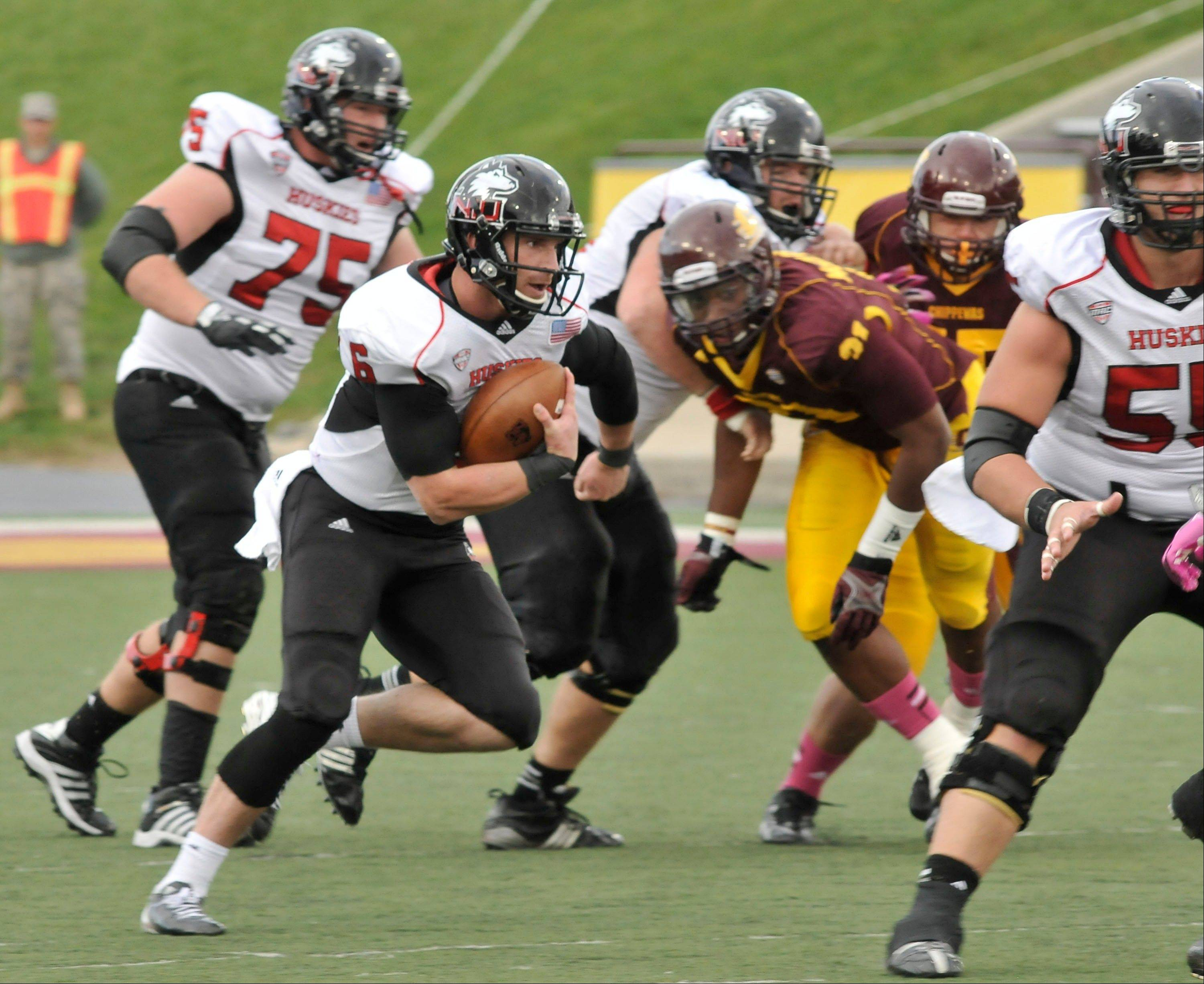 NIU quarterback Joran Lynch rushes for a touchdown during the second quarter of last Saturday's road game against Central Michigan. Lynch scored three times in the Huskies' 38-17 win.