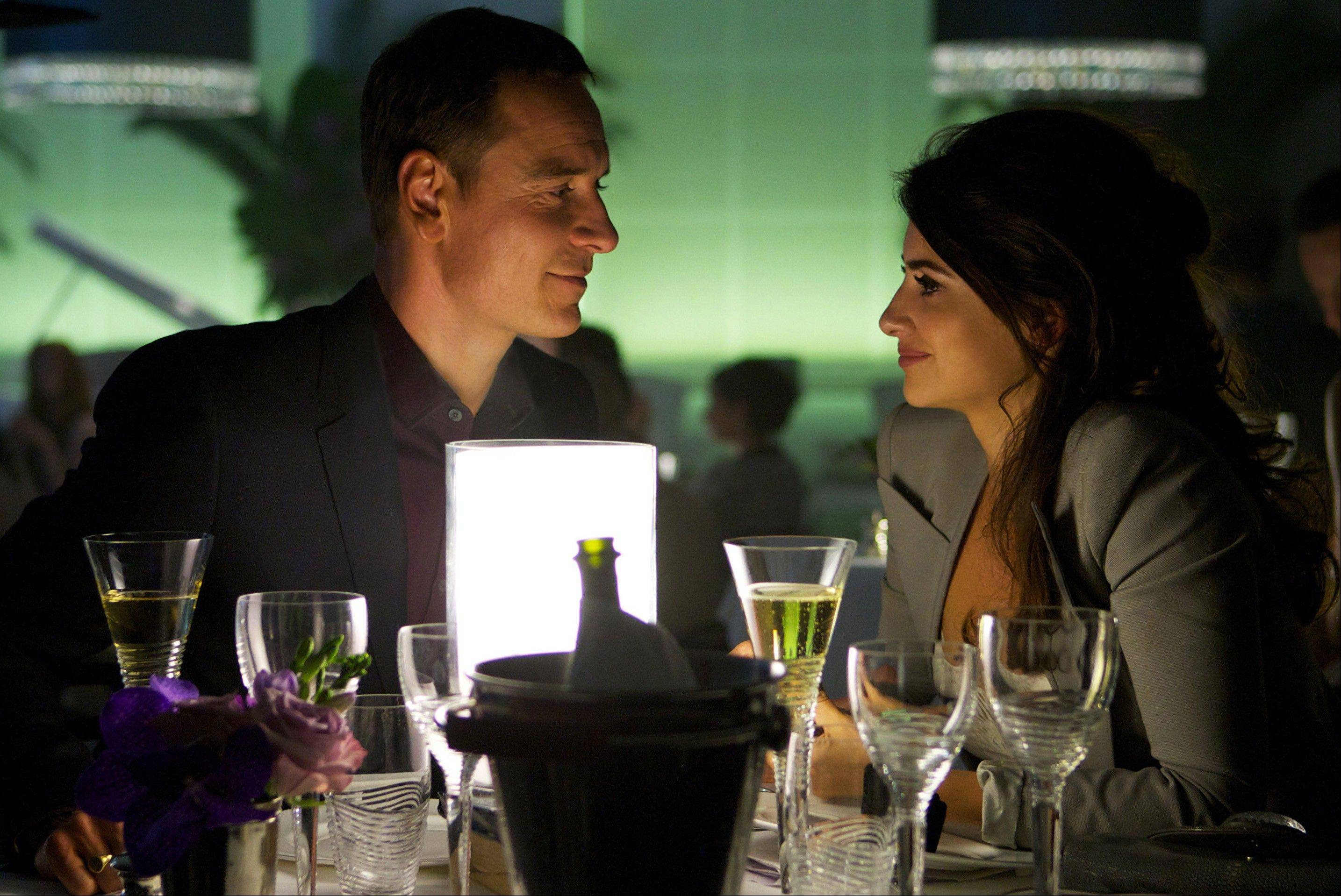 "A lawyer (Michael Fassbender) to a number of crooks shares a peaceful moment with his girlfriend Laura (Penelope Cruz) in ""The Counselor."""