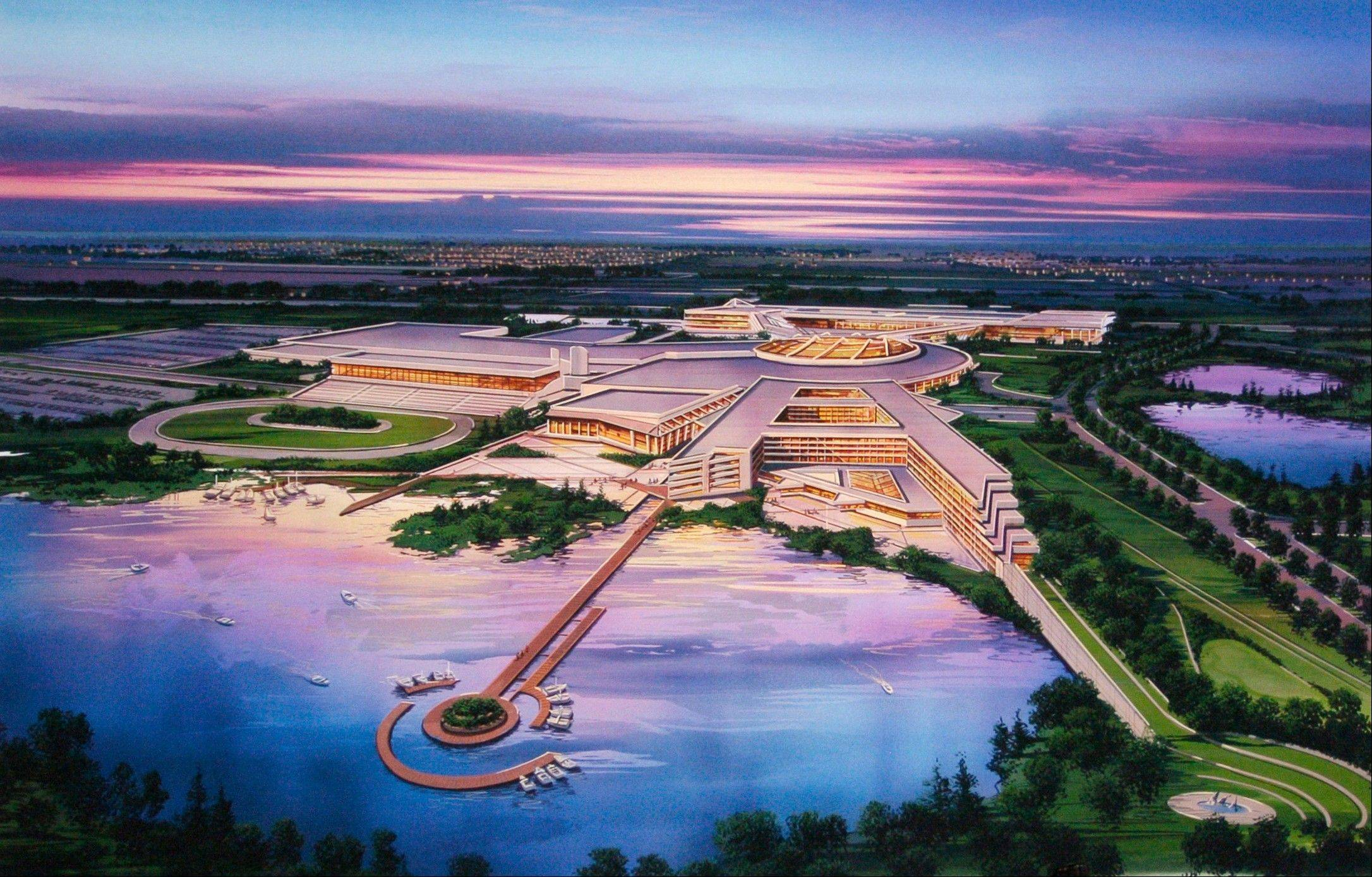 This is an artist's rendering of the Menominee Nation's proposed casino at the site of the former Dairyland Greyhound Dog Track in Kenosha, Wis.