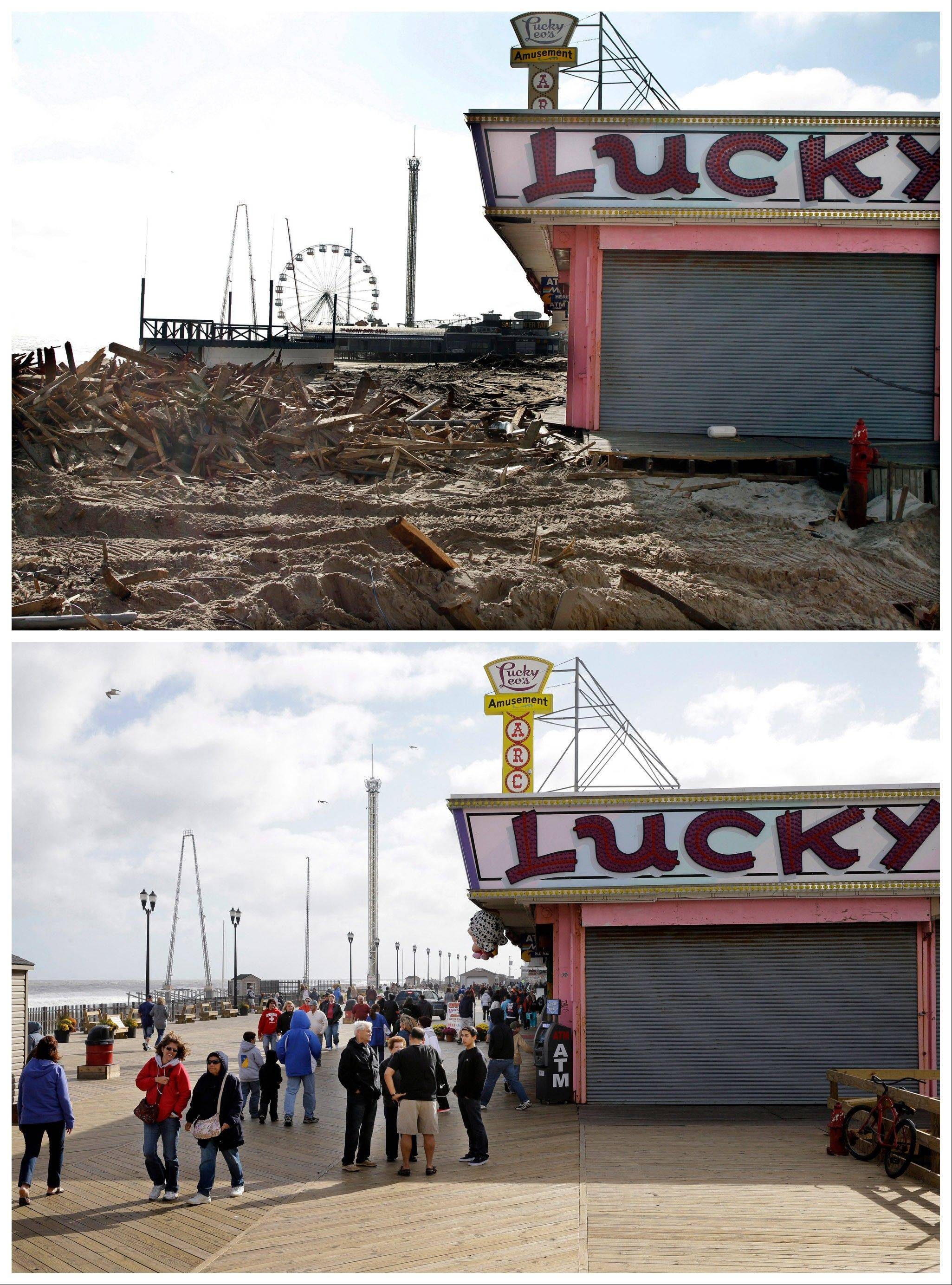 This combination shows Thursday, Nov. 22, 2012 and Sunday, Oct. 13, 2013. Debris left by Superstorm Sandy, where the boardwalk had been in front of Lucky Leo's arcade in Seaside Heights, N.J., and people walking at the rebuilt area nearly a year later.