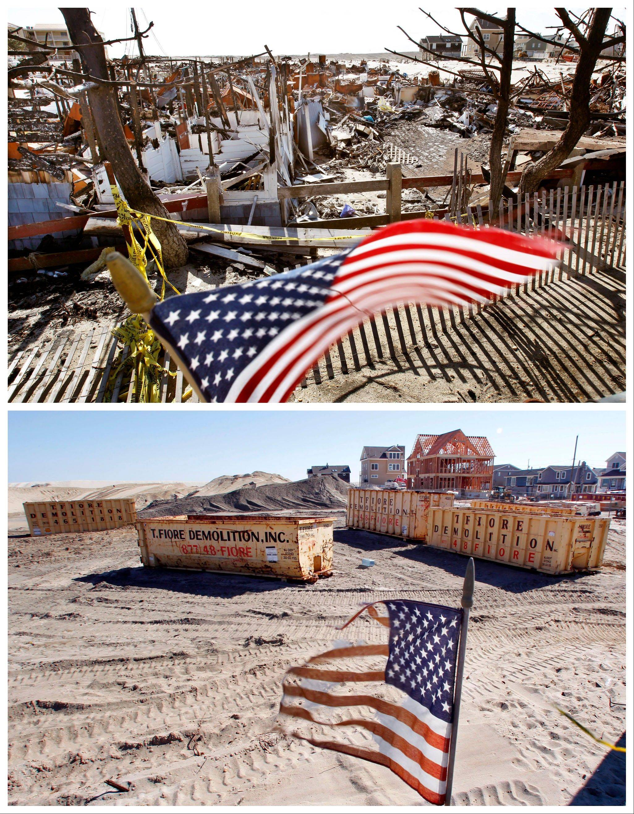This combination of Thursday, April 25, 2013 and Sunday, Oct. 13, 2013 photos shows U.S. flags at a site in Brick, N.J., around the burned remains of more than 60 small bungalows at Camp Osborn.