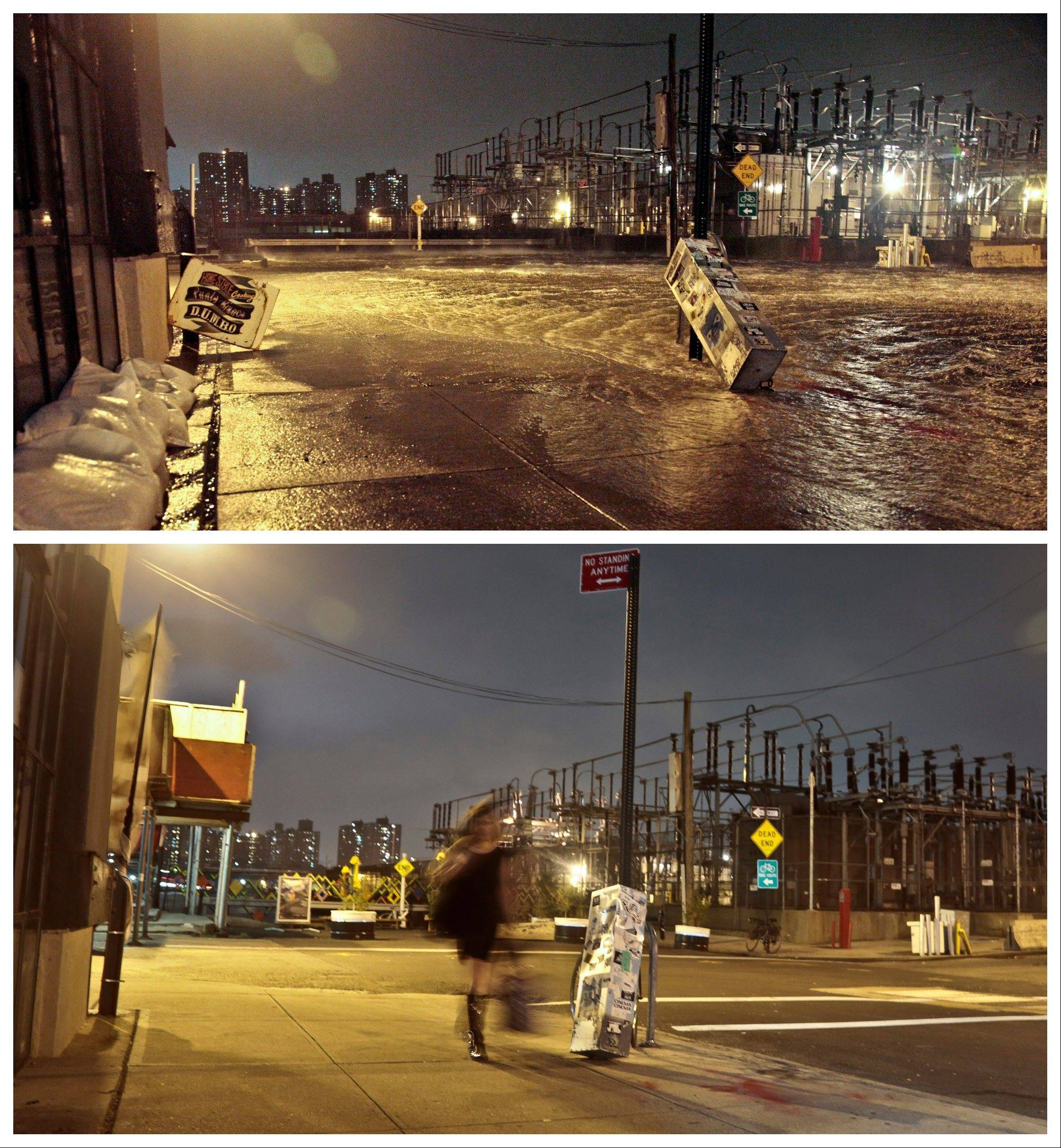 This combination of Oct. 29, 2012 and Oct. 17, 2013 photos shows the flooded streets around a Con Edison power substation as the East River overflows into the Dumbo section of the Brooklyn borough of New York.