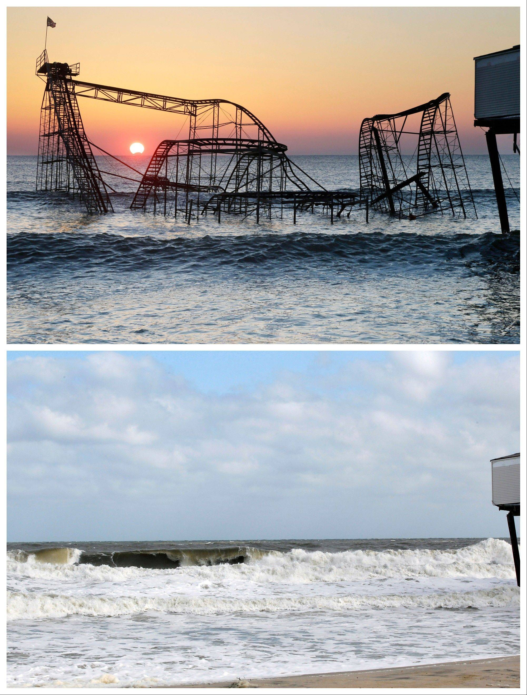 In this combination of Monday, Feb. 25, 2013 and Sunday, Oct. 13, 2013 photos, the sun rises in Seaside Heights, N.J., behind the Jet Star Roller Coaster, which had been sitting in the ocean after part of the Casino Pier was destroyed during Superstorm Sandy.