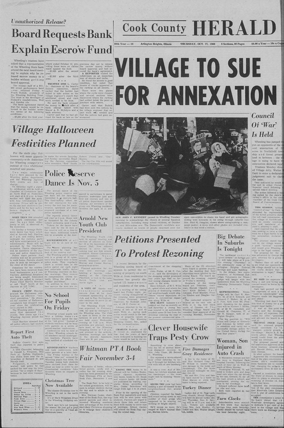 The Cook County Herald showcased Sen. John F. Kennedy's visit to the suburbs.